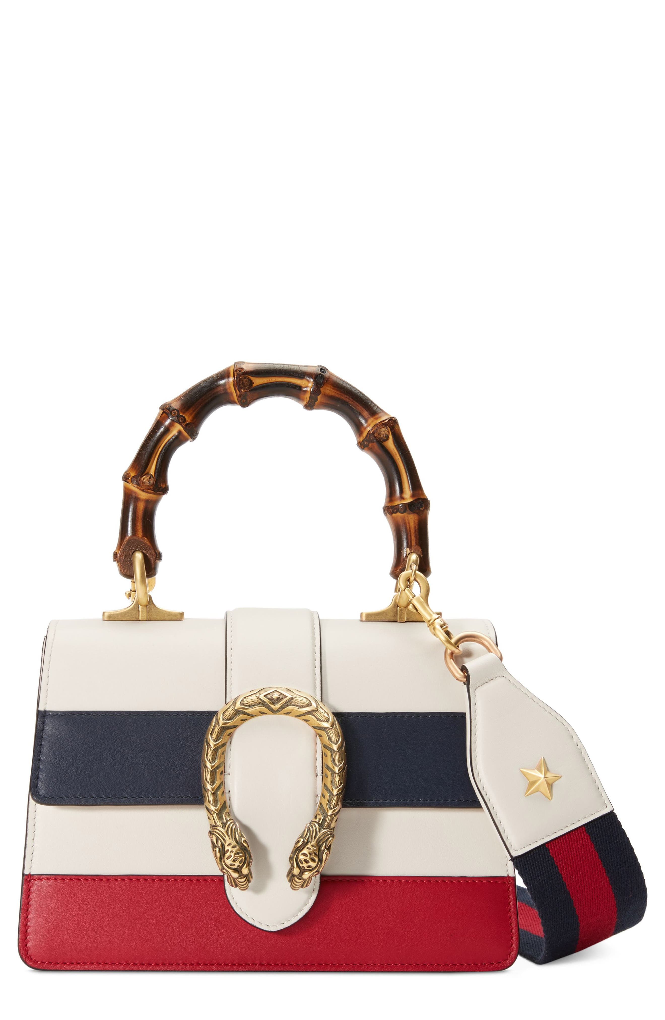 Mini Dionysus Leather Top Handle Satchel,                         Main,                         color, WHITE/ BLUE/ HIBISCUS RED