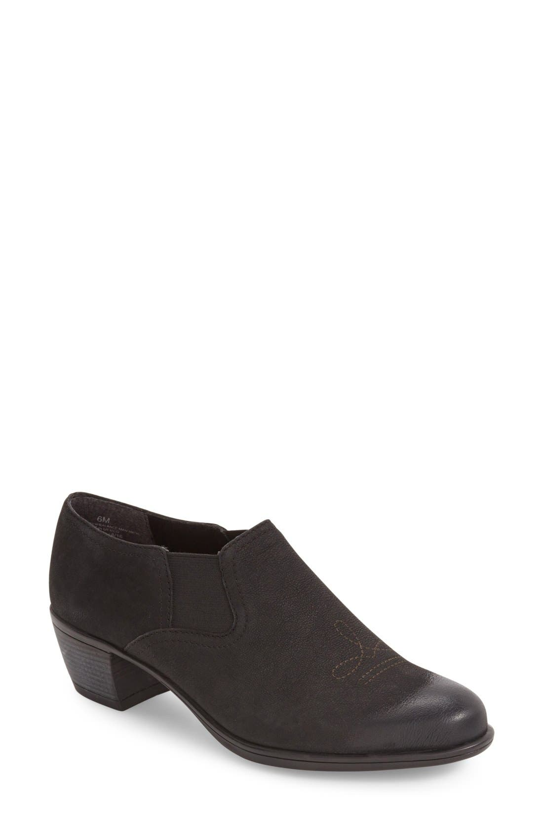 Silverton Water Resistant Ankle Bootie,                         Main,                         color, BLACK SUEDE