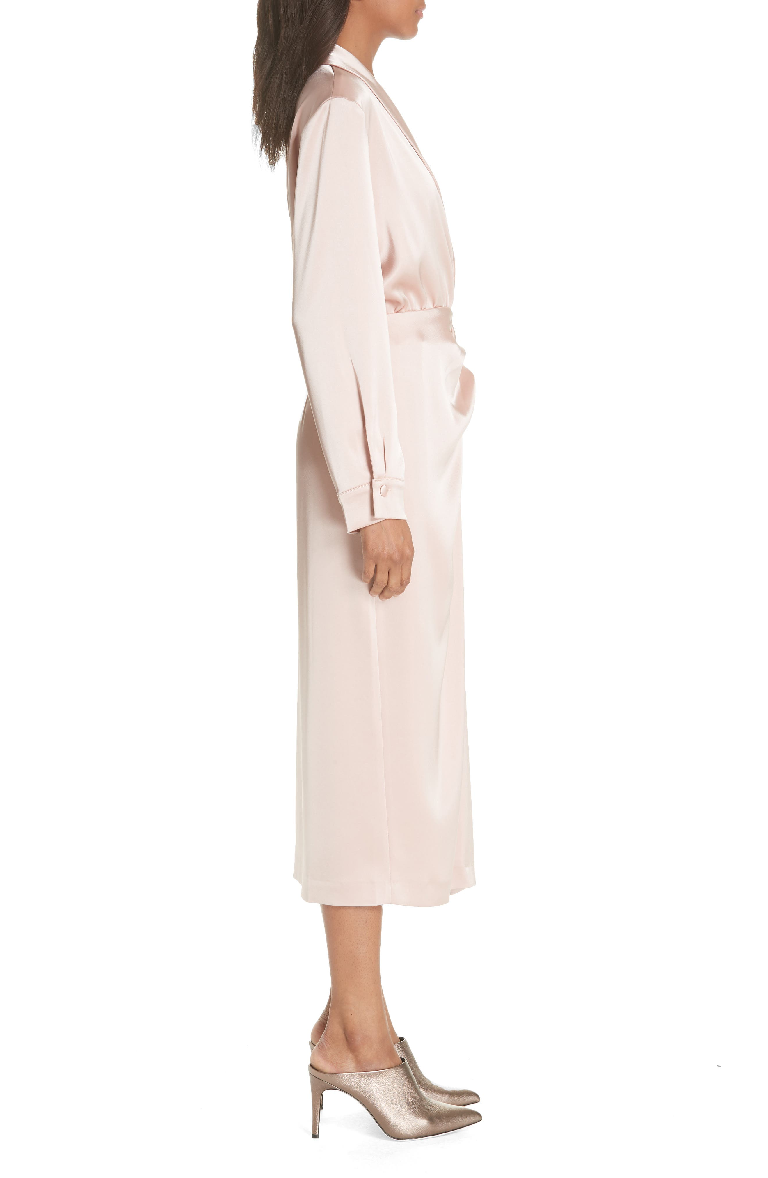 Ezra Satin Wrap Dress,                             Alternate thumbnail 3, color,                             DESERT ROSE