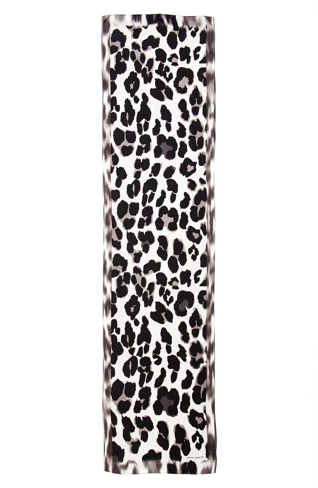Collection XIIX 'Blur Cheetah' Silk Scarf,                             Alternate thumbnail 2, color,                             001