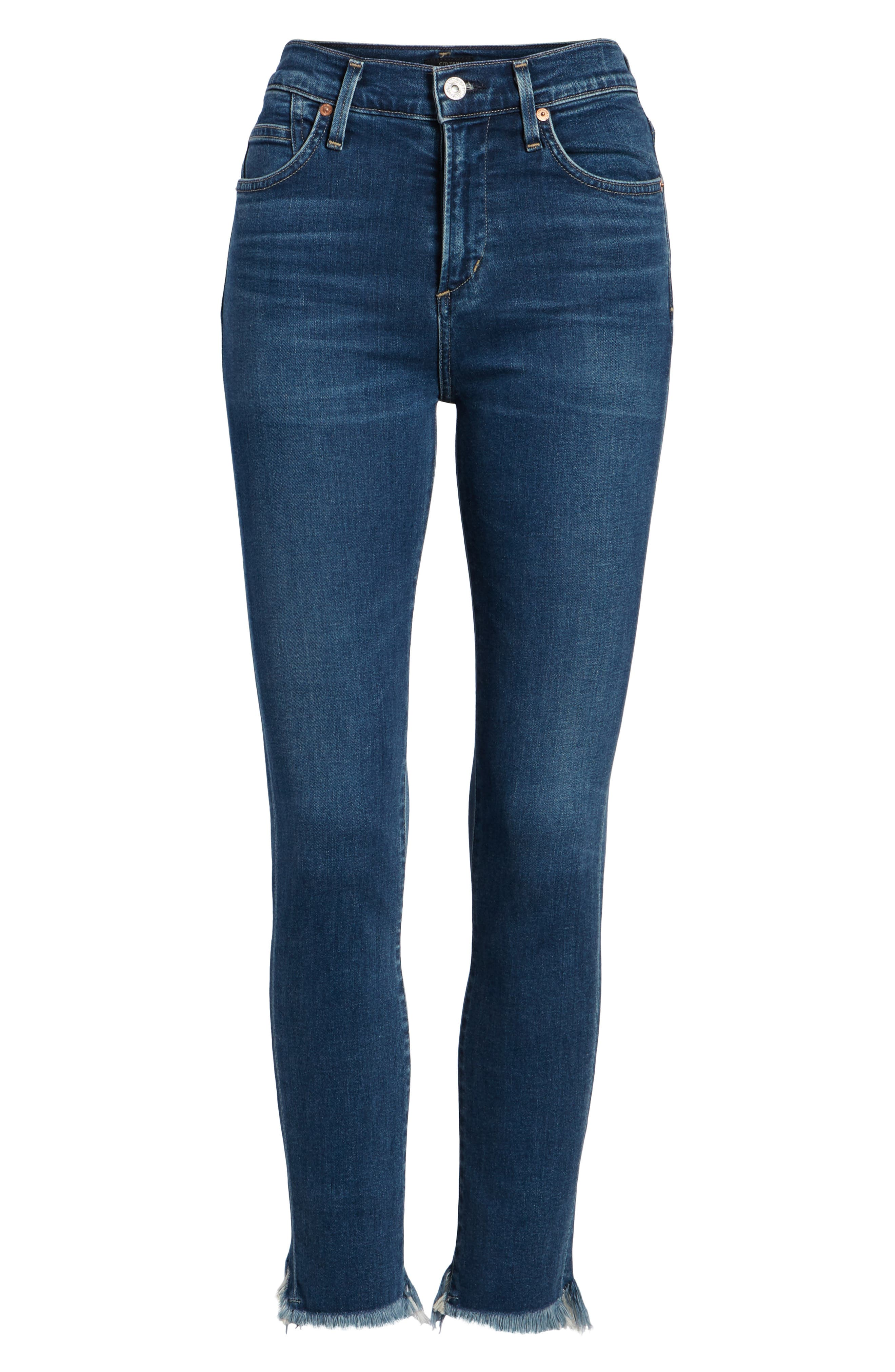 Rocket High Waist Crop Skinny Jeans,                             Alternate thumbnail 7, color,                             FREQUENCY