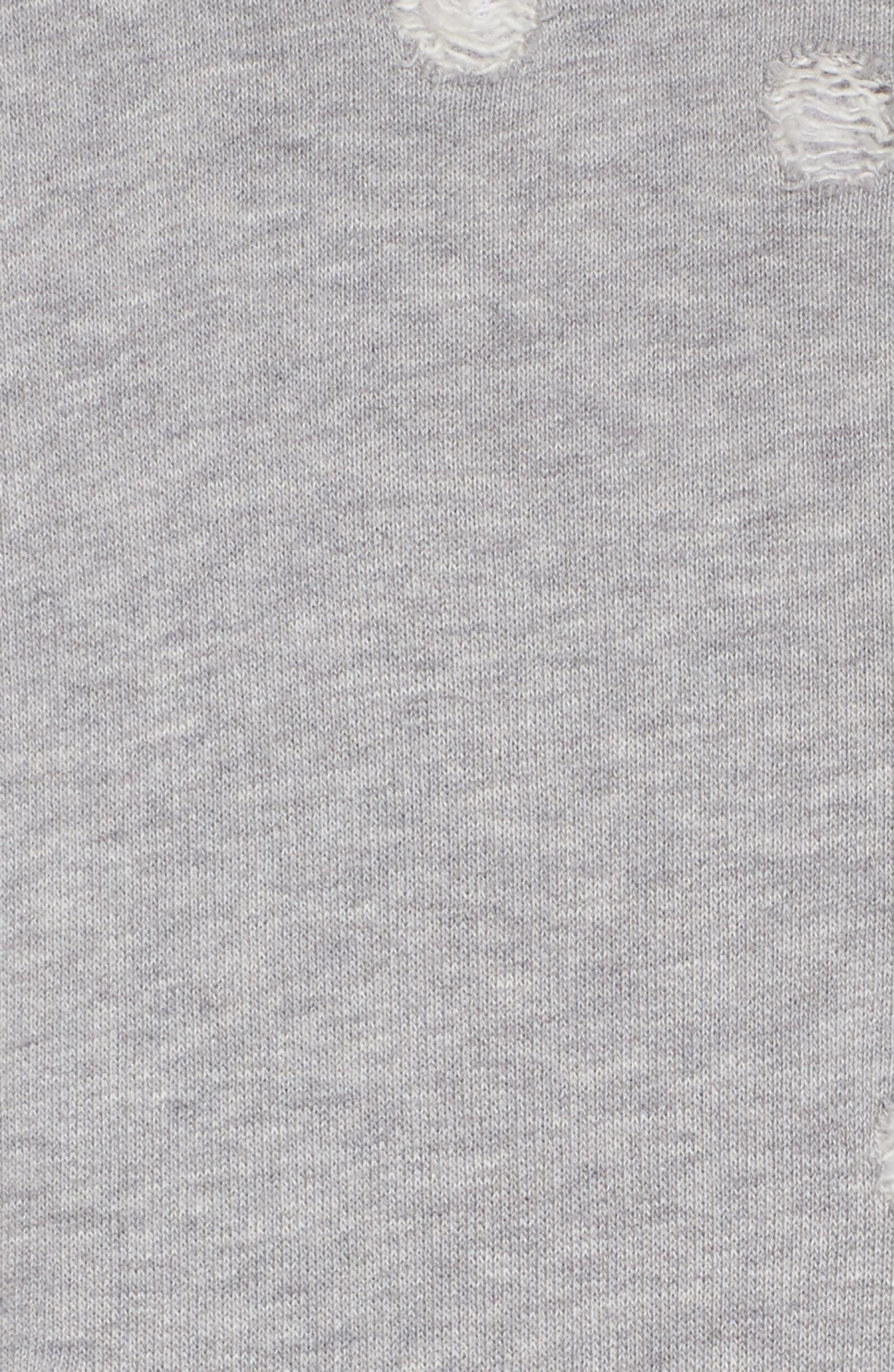 Distressed Zip Sweatshirt,                             Alternate thumbnail 5, color,                             HEATHER GREY