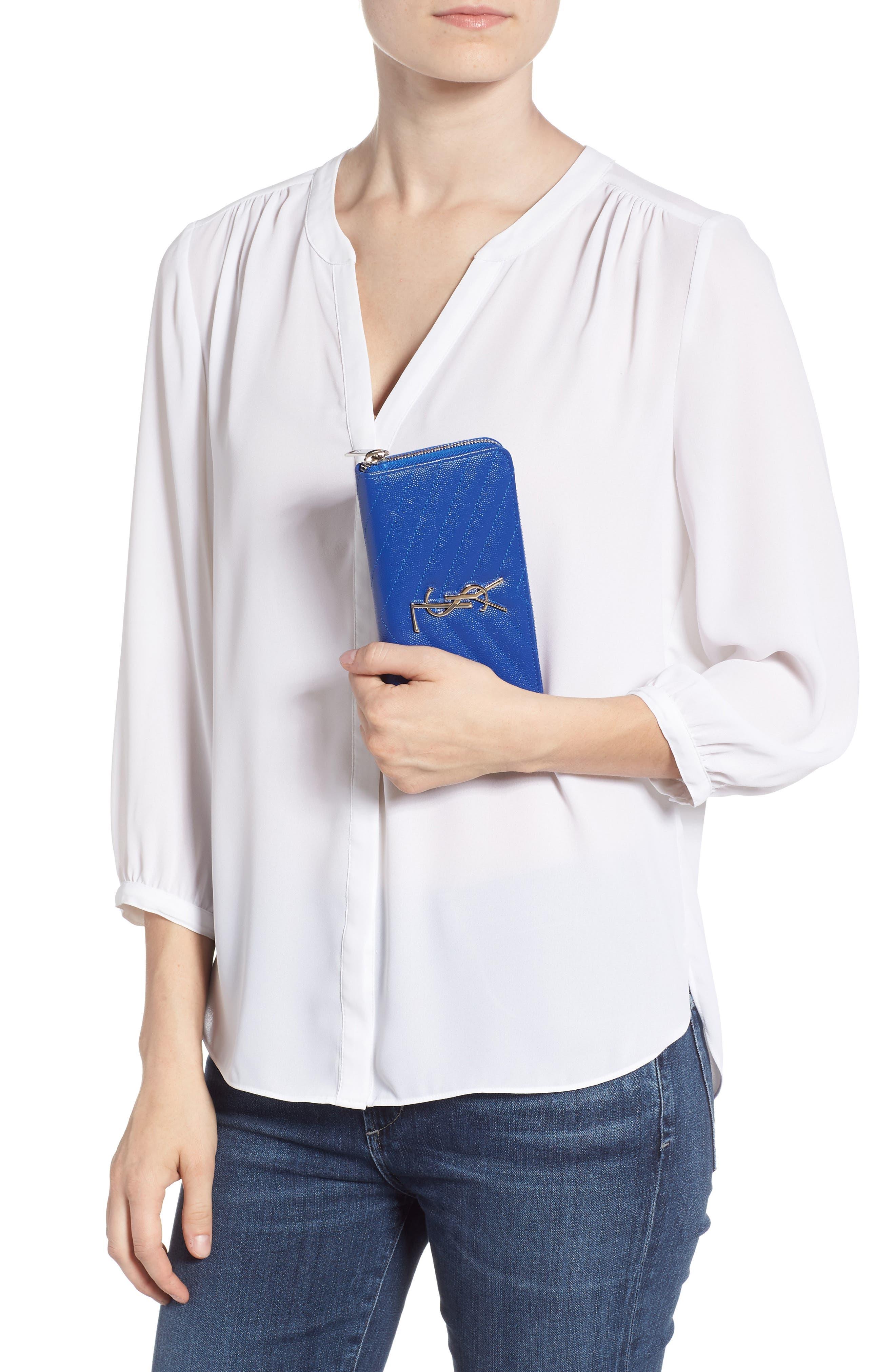 SAINT LAURENT,                             'Monogram' Zip Around Quilted Calfskin Leather Wallet,                             Alternate thumbnail 2, color,                             BRIGHT BLUE