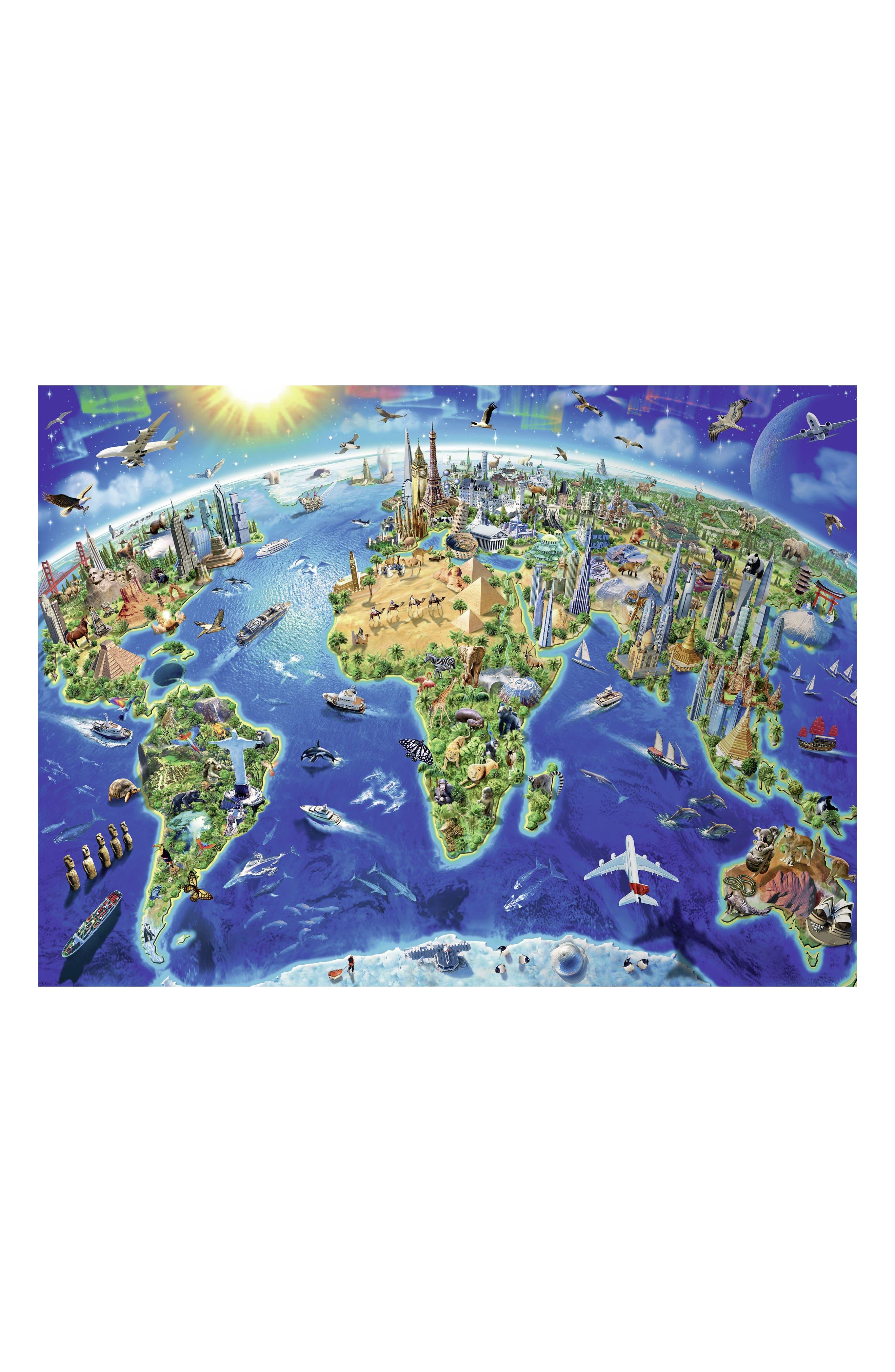 World Landmarks Map 300-Piece Puzzle,                             Alternate thumbnail 2, color,                             400