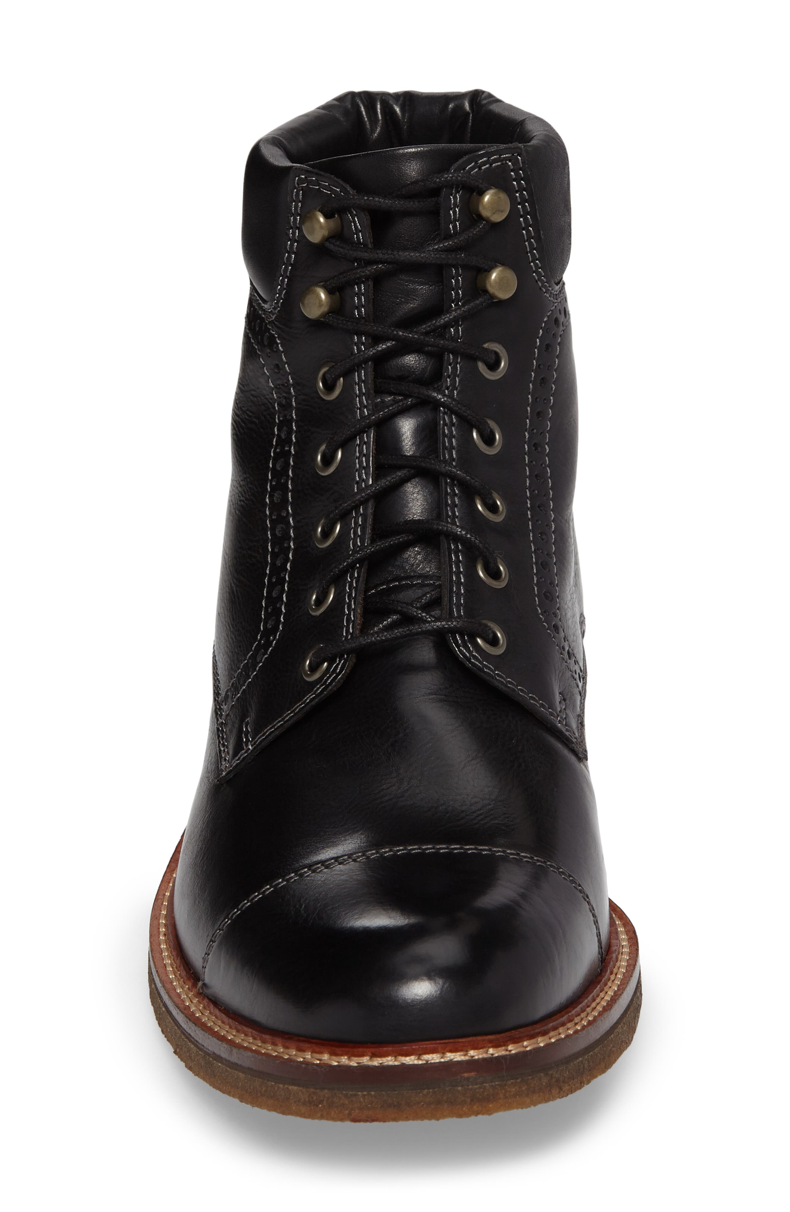 Forrester Cap Toe Boot,                             Alternate thumbnail 4, color,                             BLACK LEATHER