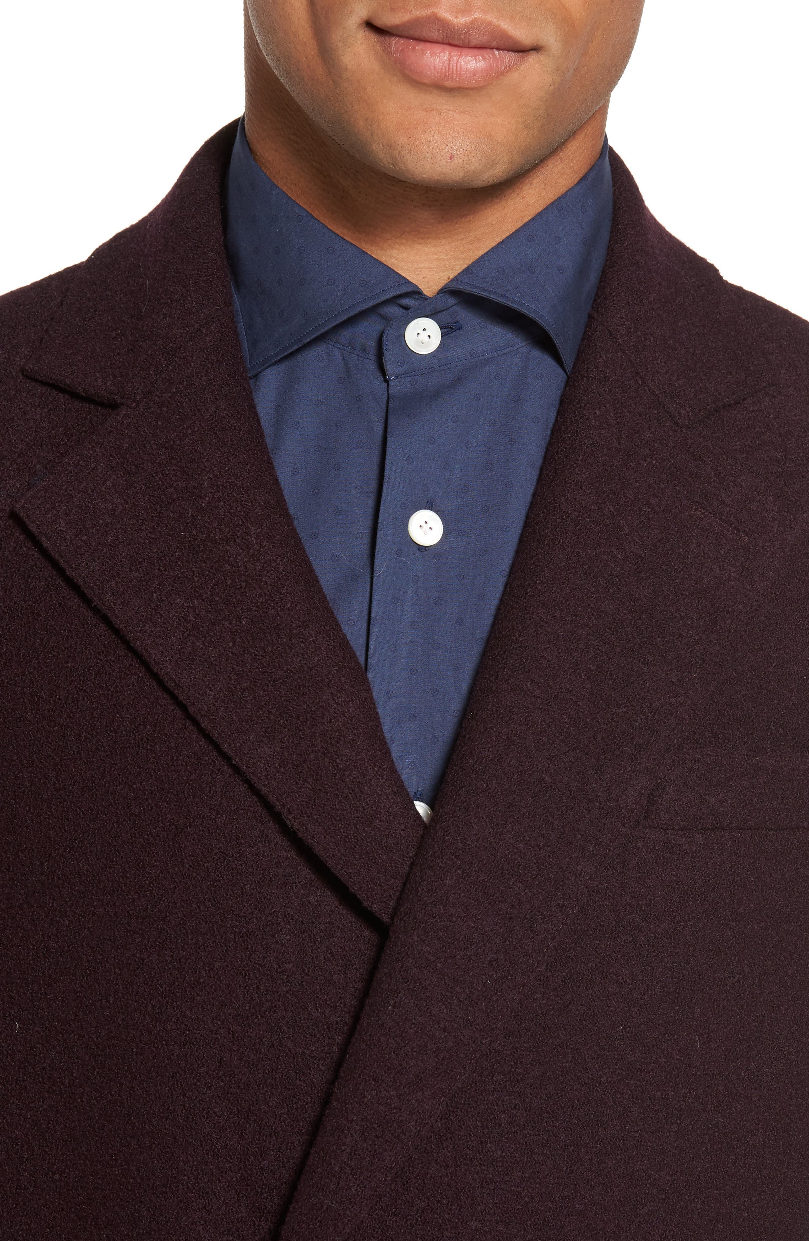 Boiled Wool Double Breasted Topcoat,                             Alternate thumbnail 4, color,                             930