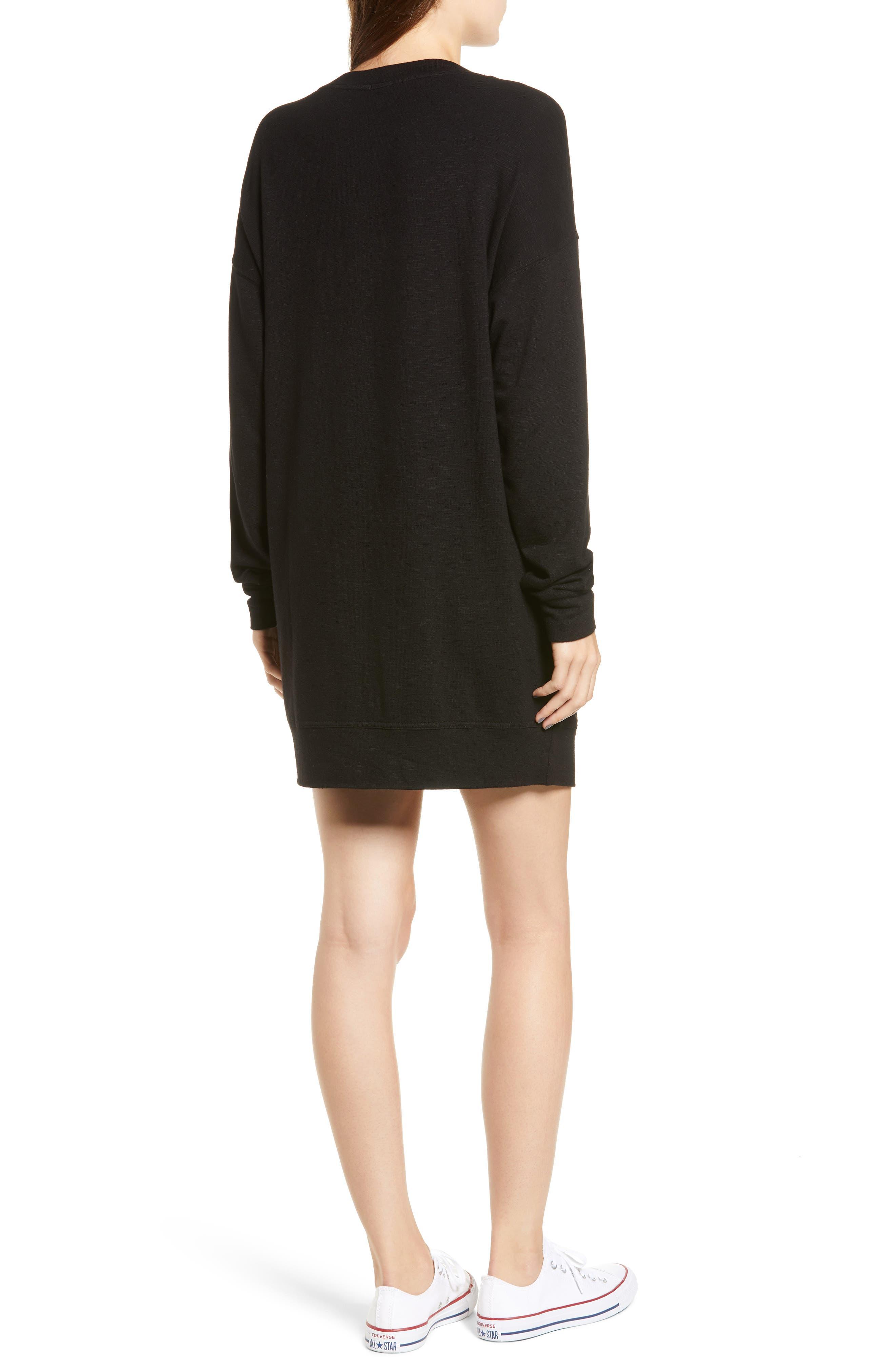 Active Sweatshirt Dress,                             Alternate thumbnail 2, color,                             BLACK