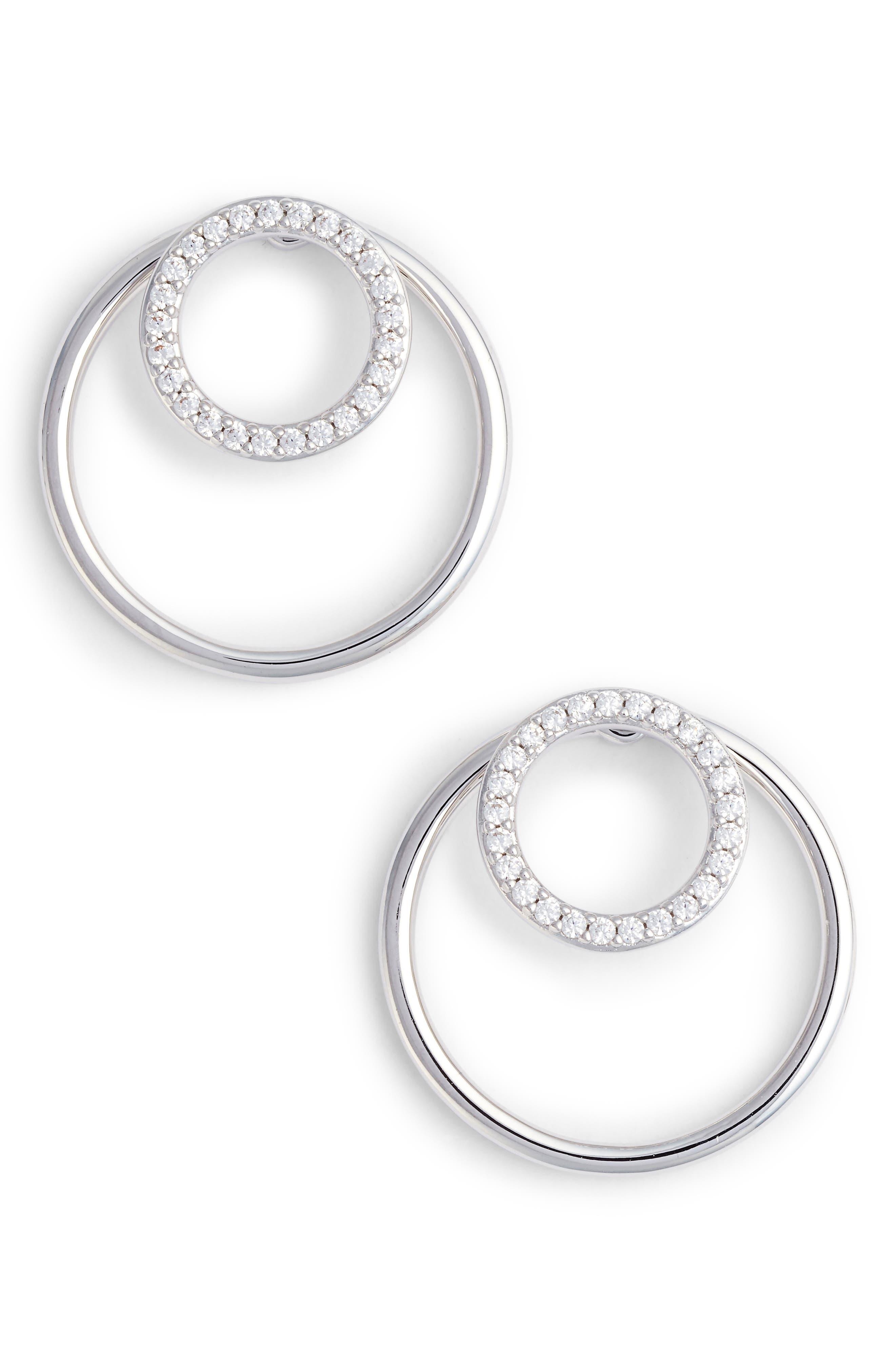 Pavé Double Circle Earrings,                             Main thumbnail 1, color,                             SILVER