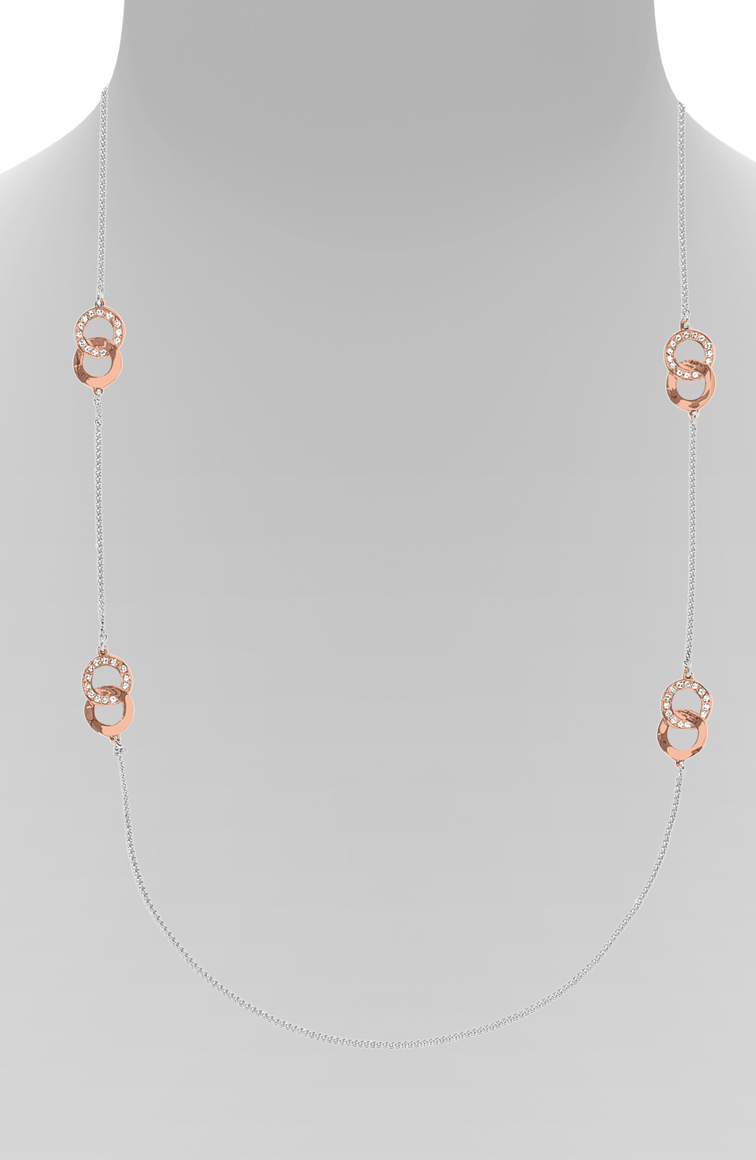 ADORÉE Interlocking Ring Long Station Necklace in Silver/ Rose Gold