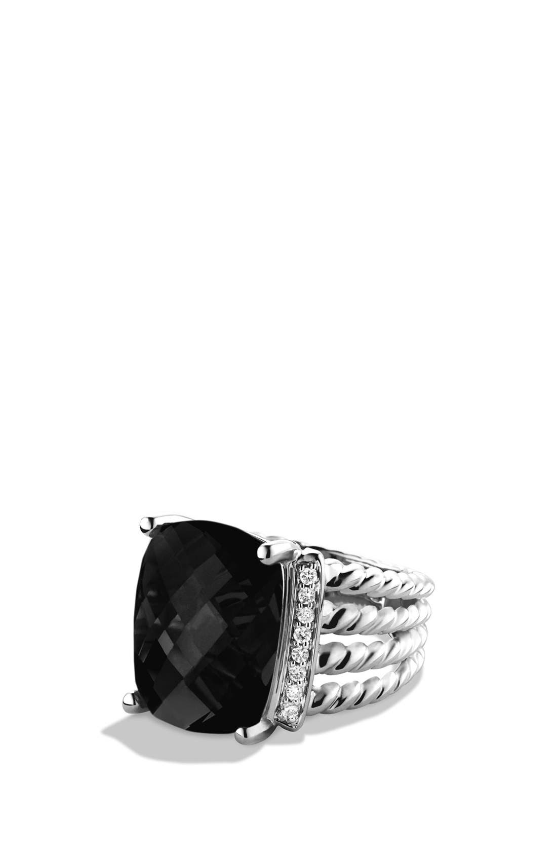 'Wheaton' Ring with Semiprecious Stone & Diamonds,                             Main thumbnail 1, color,                             BLACK ONYX