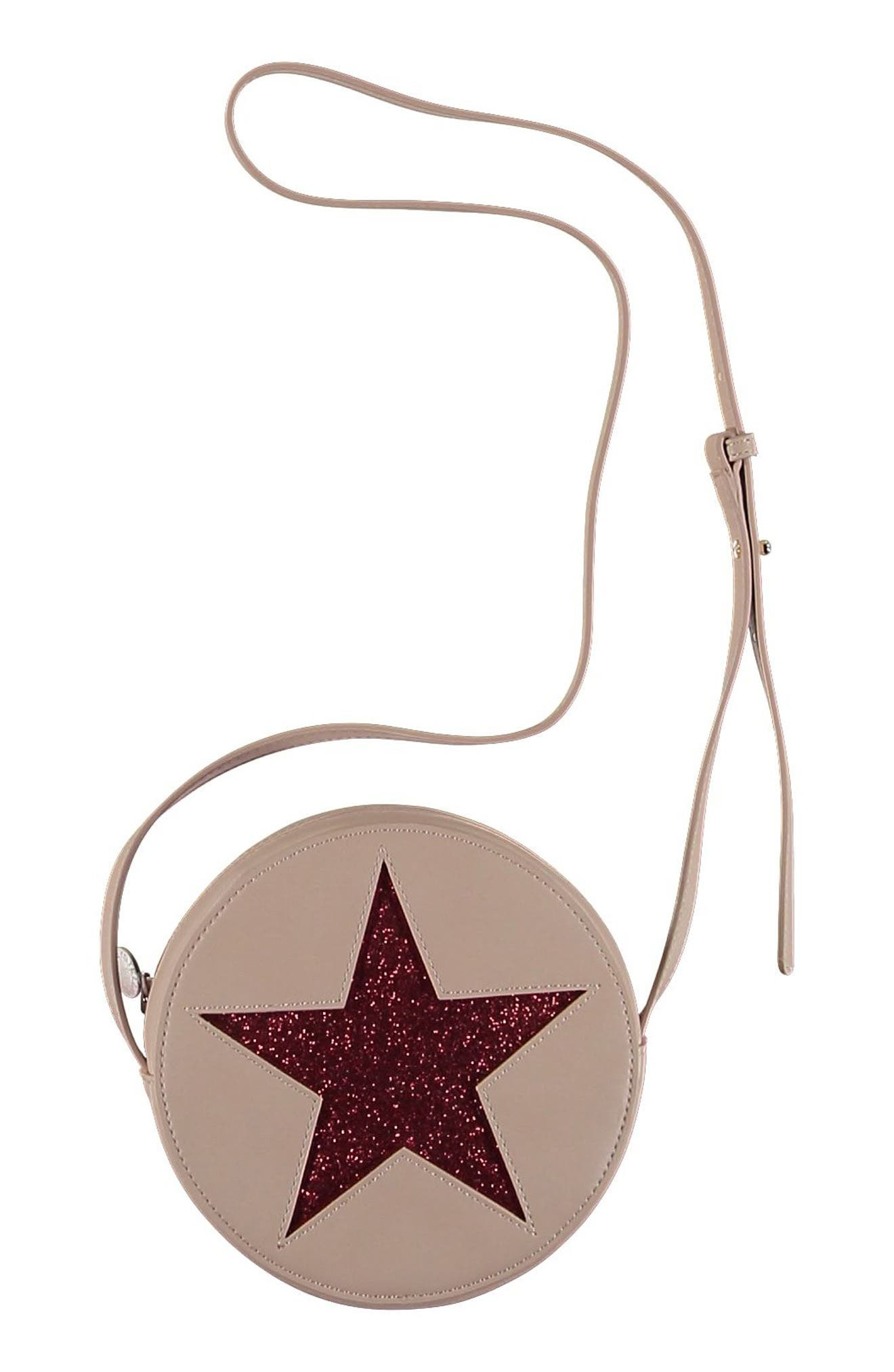 Glitter Star Faux Leather Crossbody Bag,                         Main,                         color, 5768 PINK