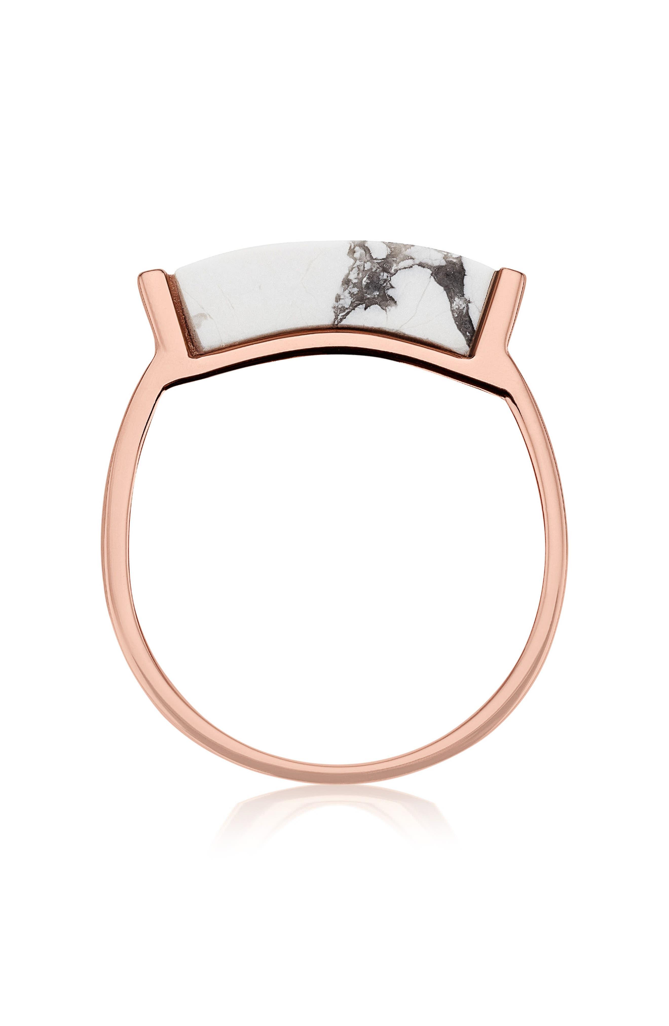 Engravable Linear Stone Ring,                             Alternate thumbnail 2, color,                             ROSE GOLD/ HOWLITE