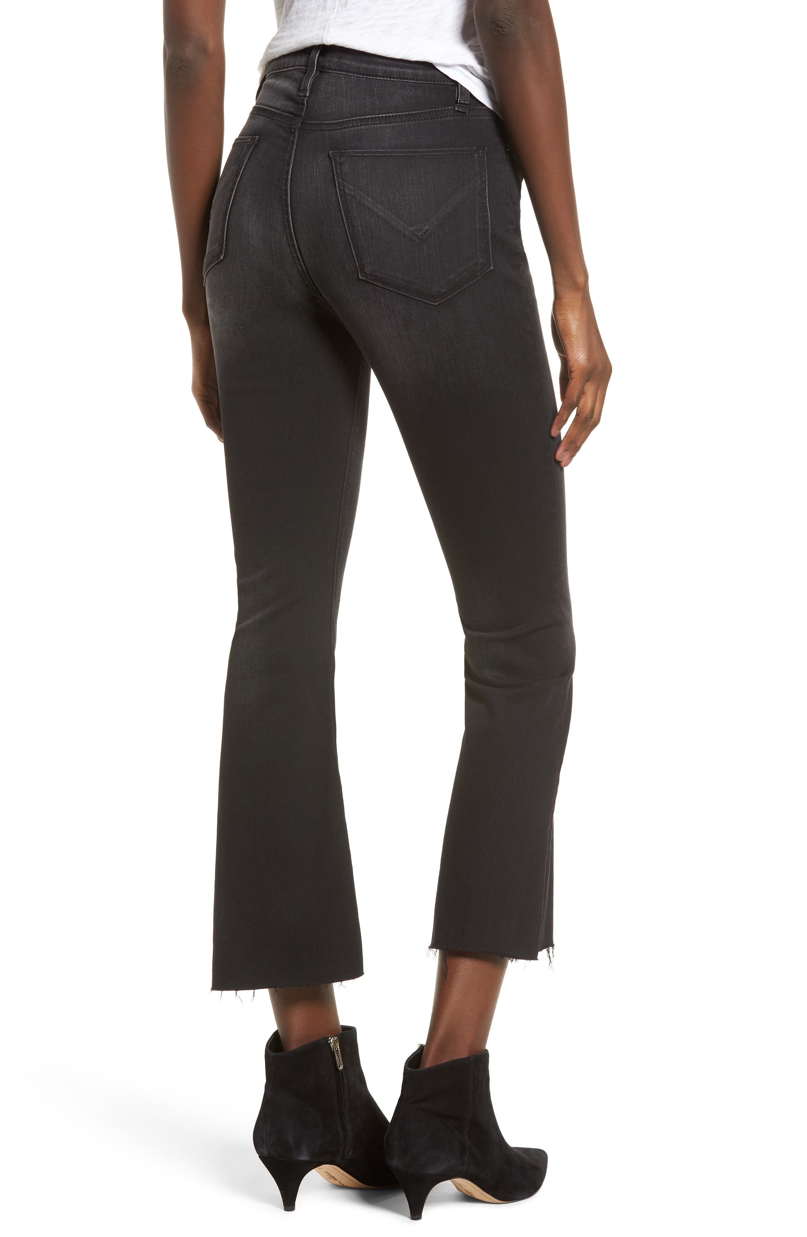 Holly High Waist Crop Flare Jeans,                             Alternate thumbnail 2, color,                             BLACK HOUND