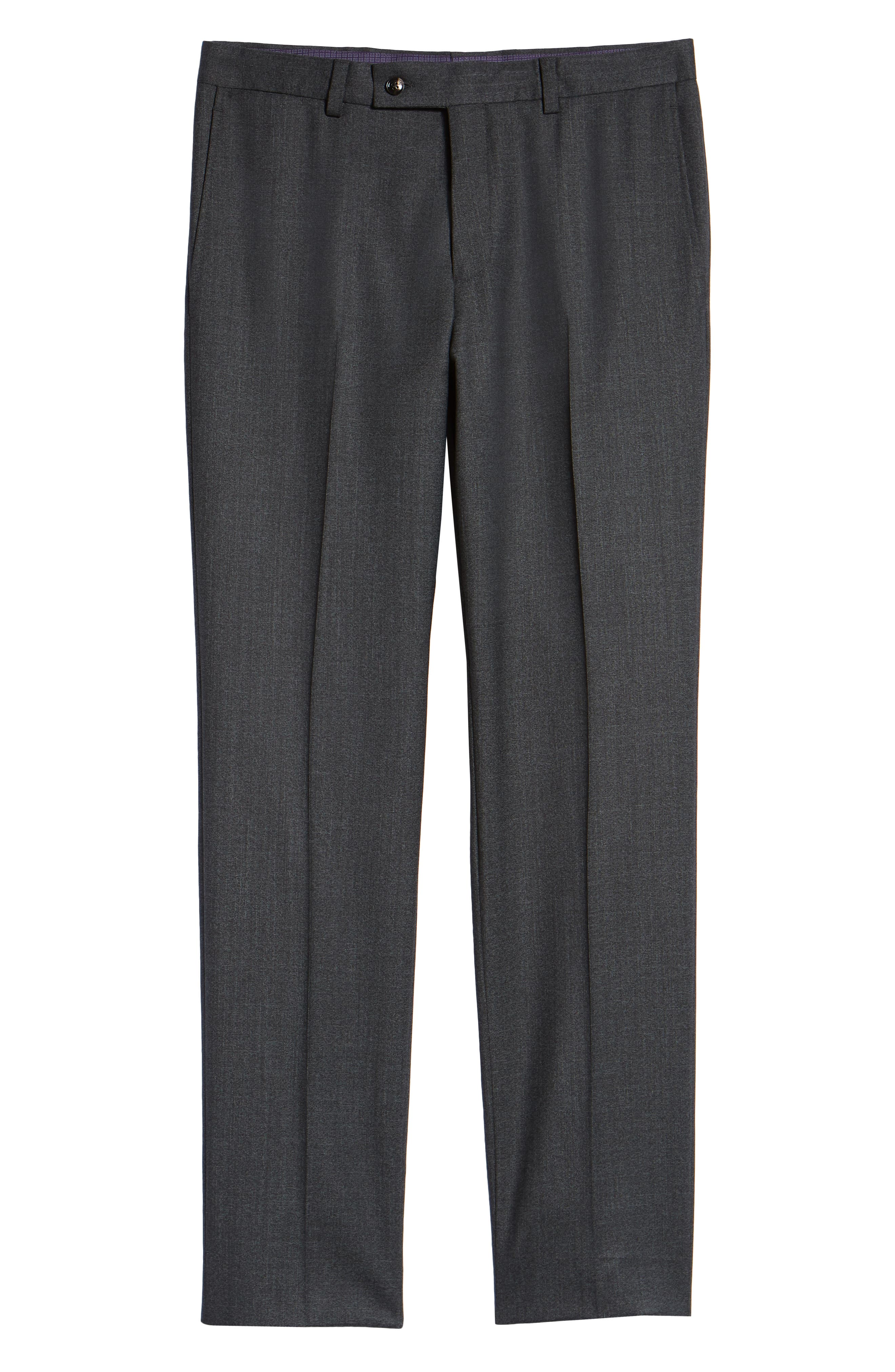 Jefferson Flat Front Solid Wool Trousers,                             Alternate thumbnail 6, color,                             GREY
