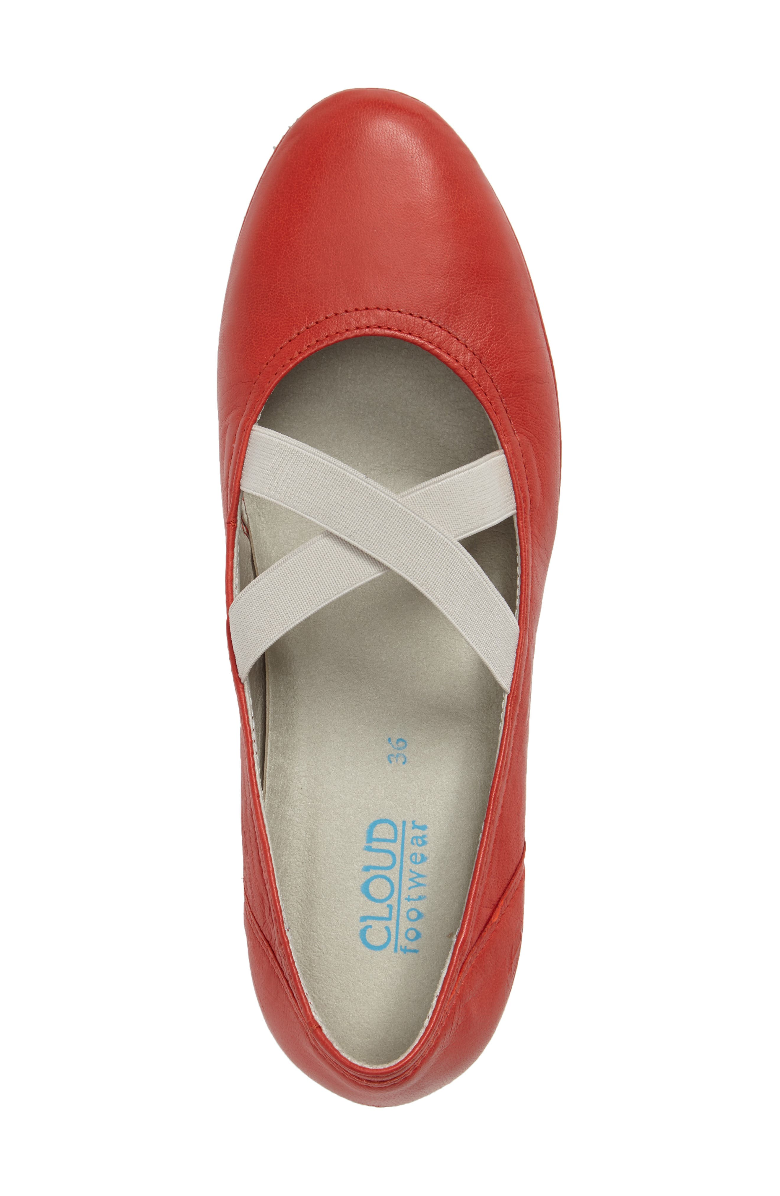 CLOUD,                             Ballet Strappy Flat,                             Alternate thumbnail 5, color,                             RED LEATHER