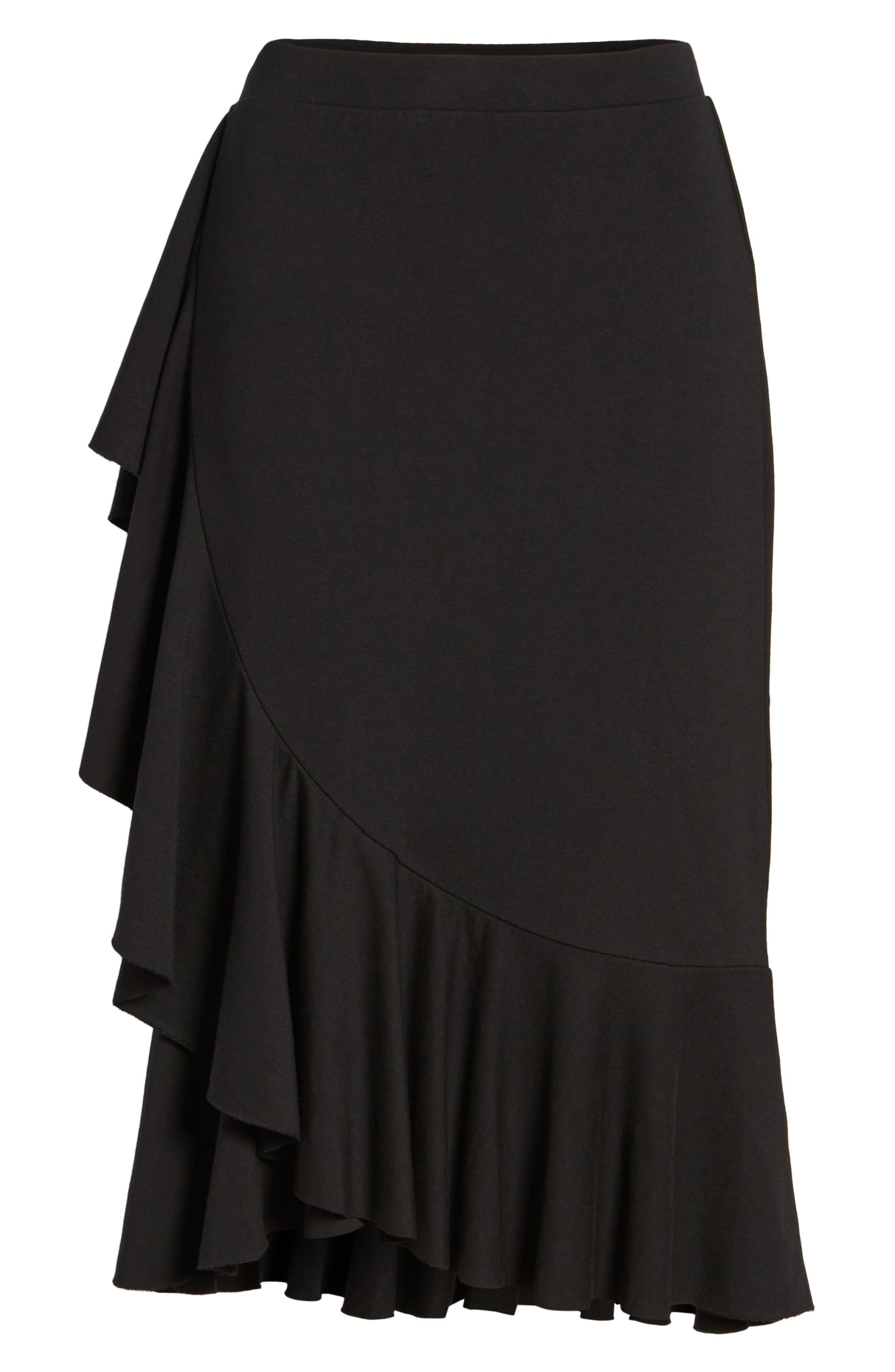 Ruffled Knit Skirt,                             Alternate thumbnail 6, color,                             001
