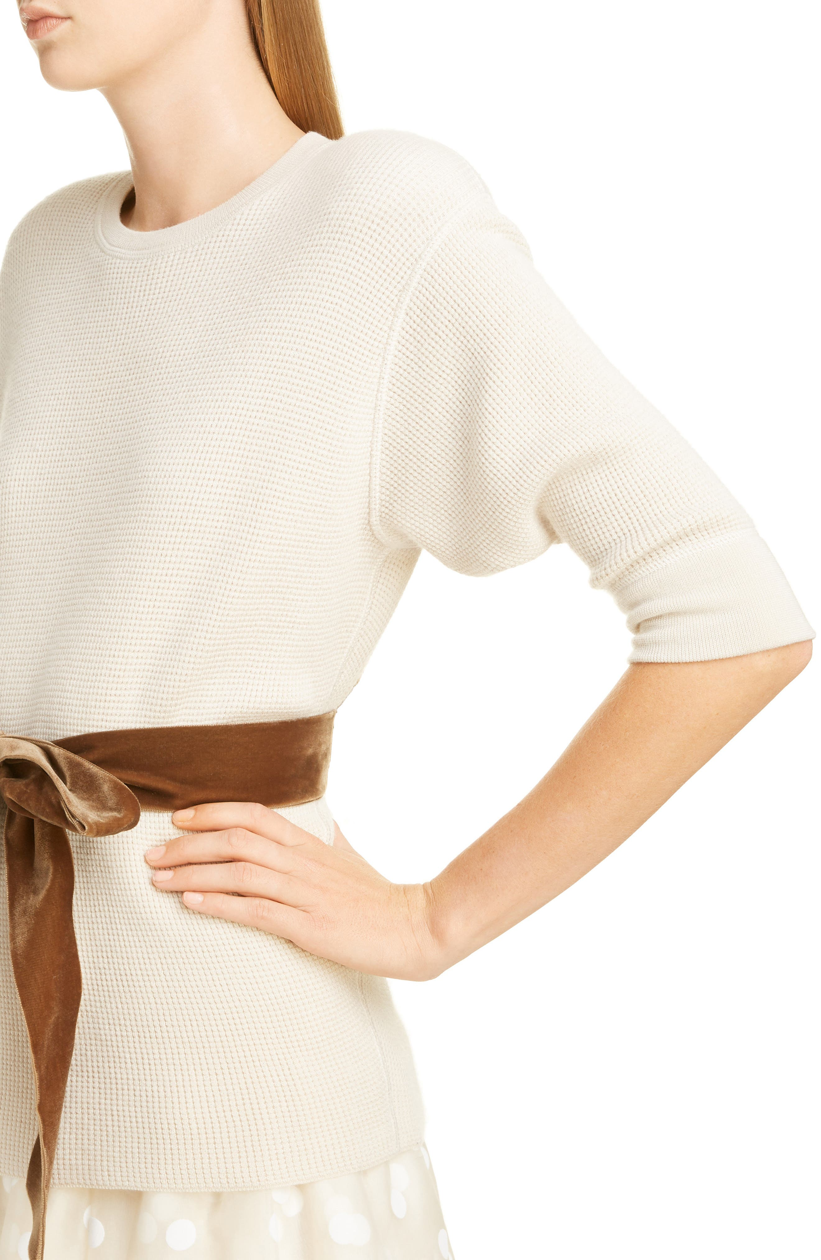 Bow Detail Cashmere & Wool Blend Thermal Sweater,                             Alternate thumbnail 4, color,                             IVORY