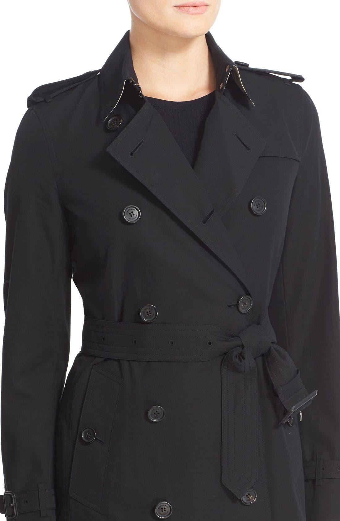 Kensington Mid Trench Coat,                             Alternate thumbnail 6, color,                             BLACK