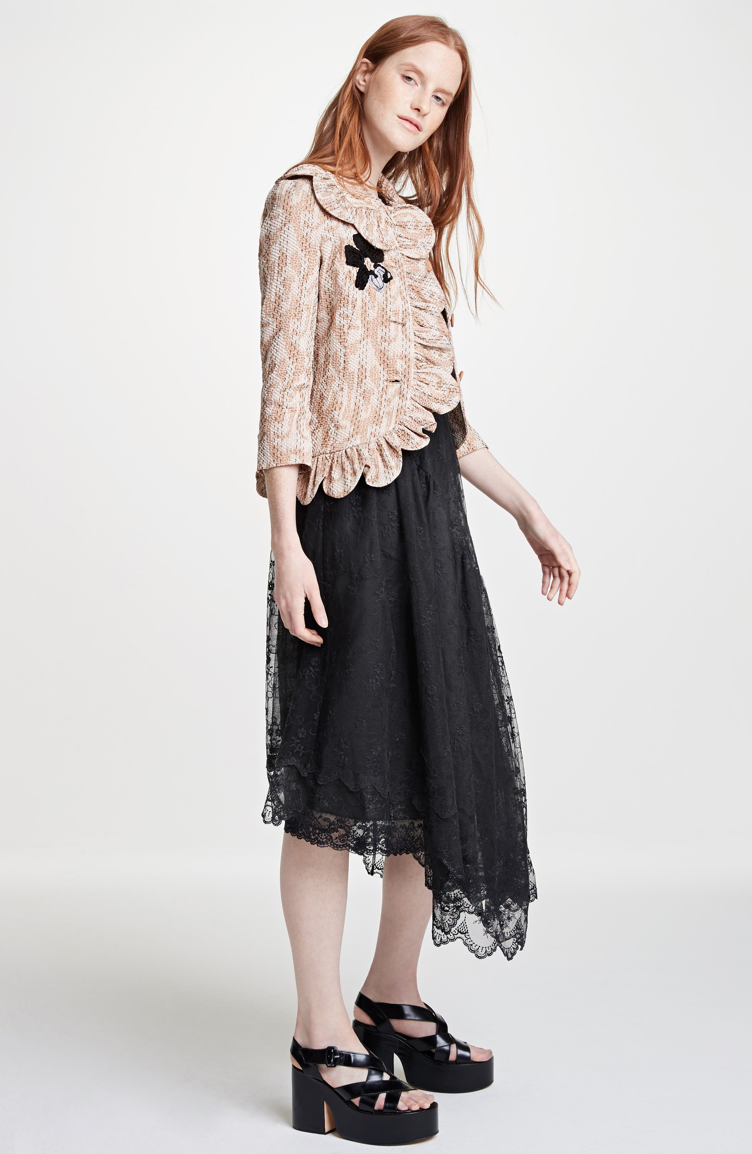 Asymmetrical Embroidered Tulle Dress,                             Alternate thumbnail 8, color,                             001