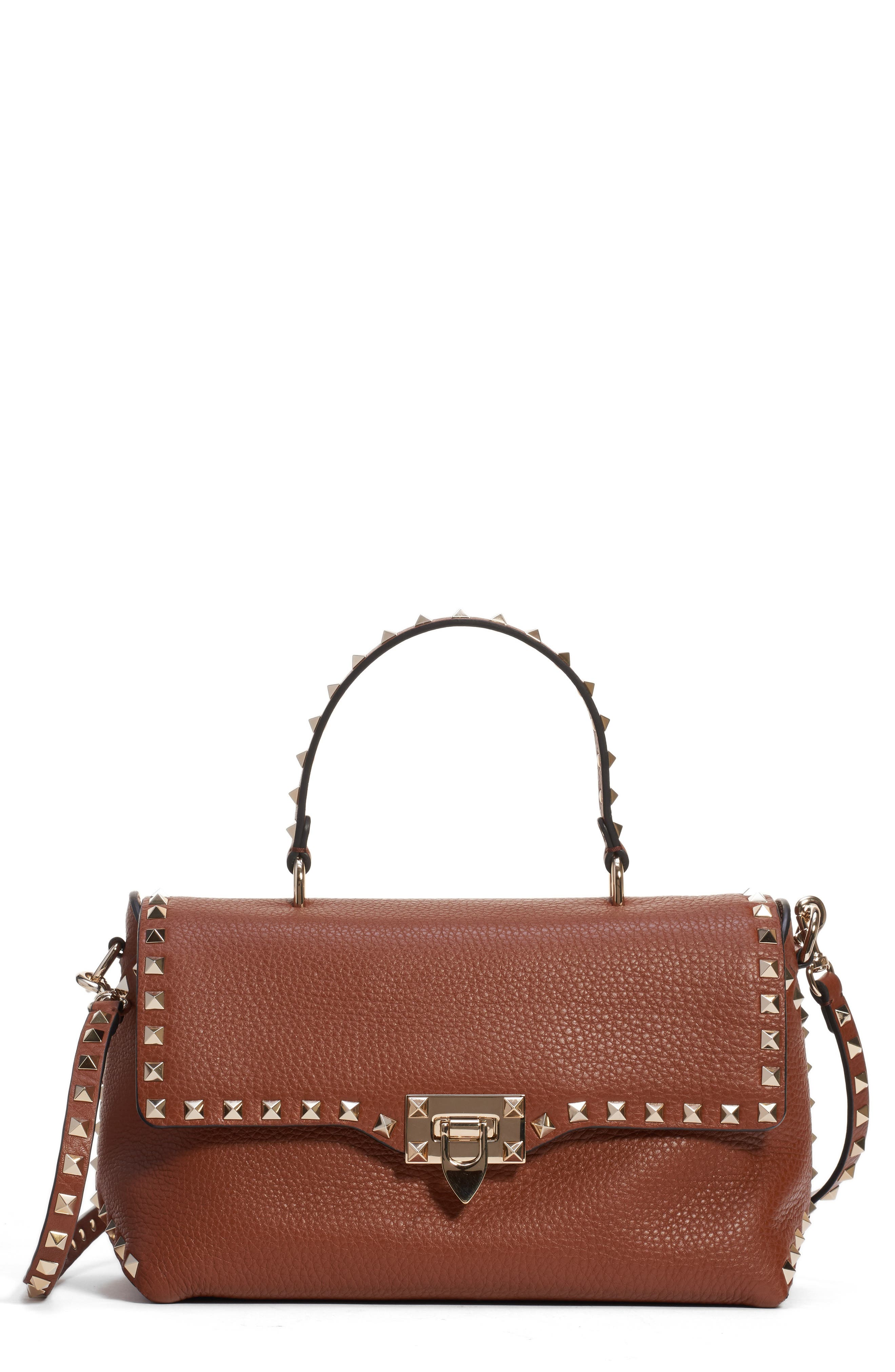 Medium Rockstud Leather Crossbody Bag,                         Main,                         color, BRIGHT COGNAC