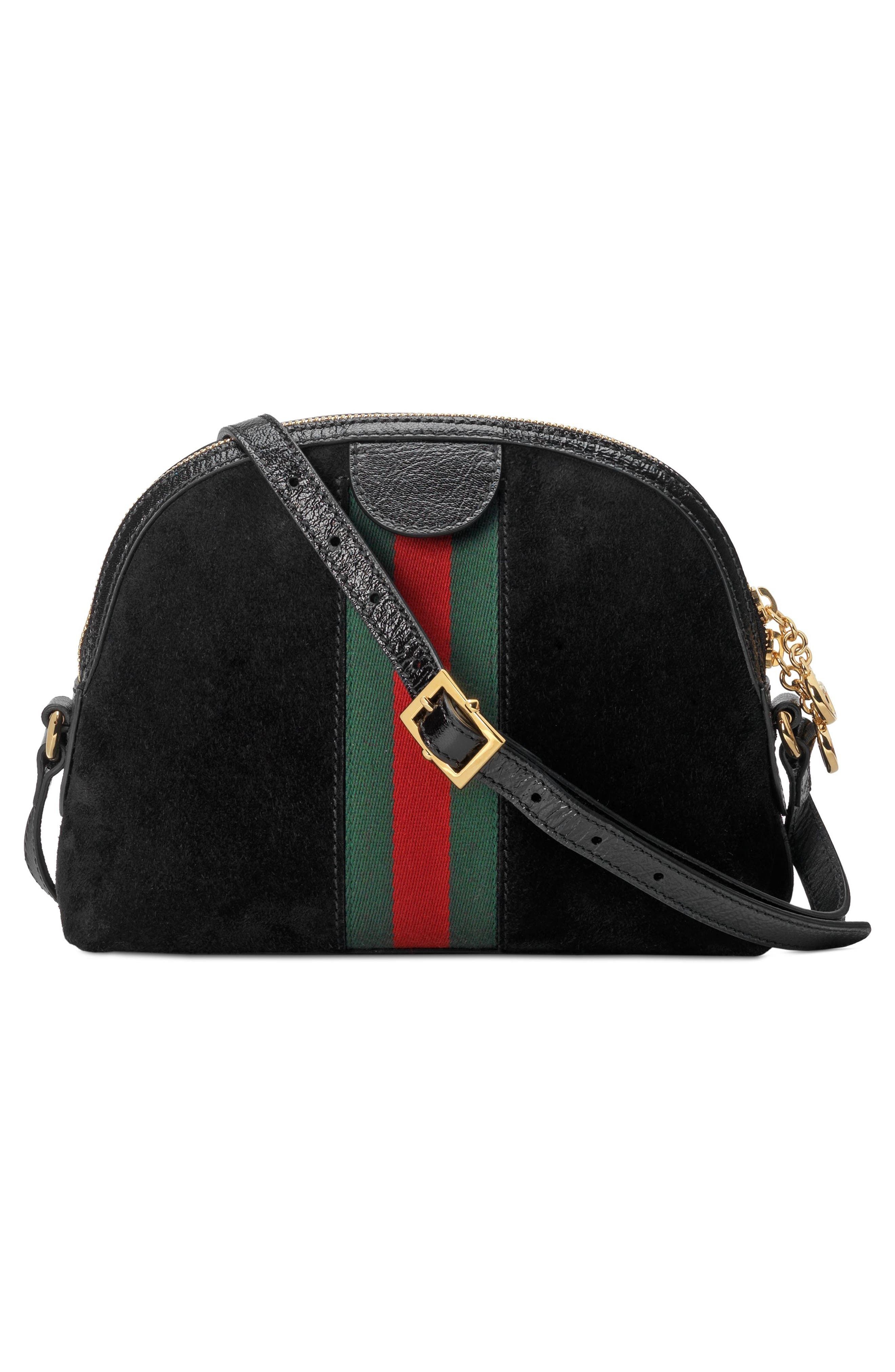 Small Suede Shoulder Bag,                             Alternate thumbnail 2, color,                             NERO/ NERO/ VERT RED VERT