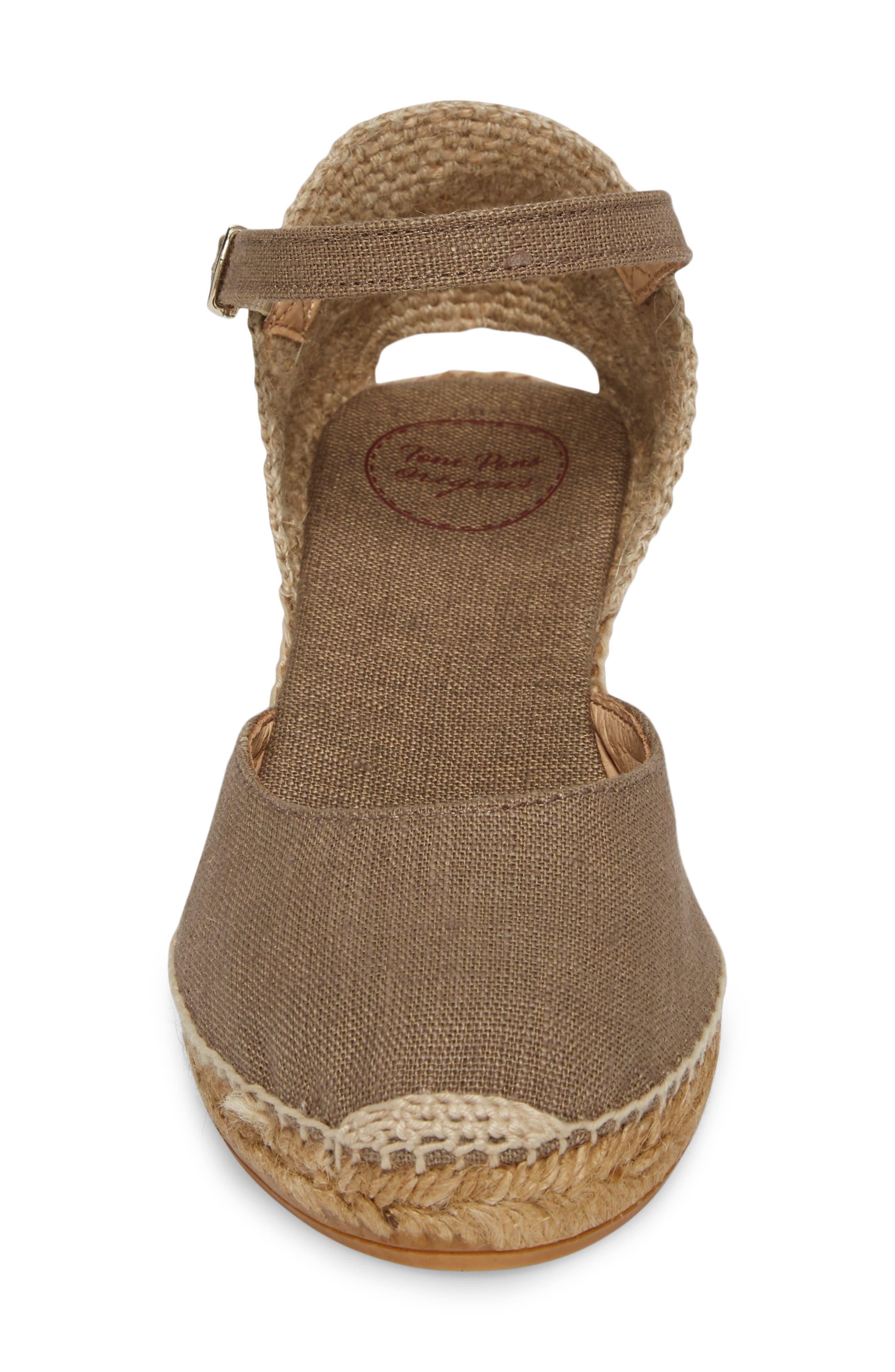 'Caldes' Linen Wedge Sandal,                             Alternate thumbnail 4, color,                             TAUPE FABRIC