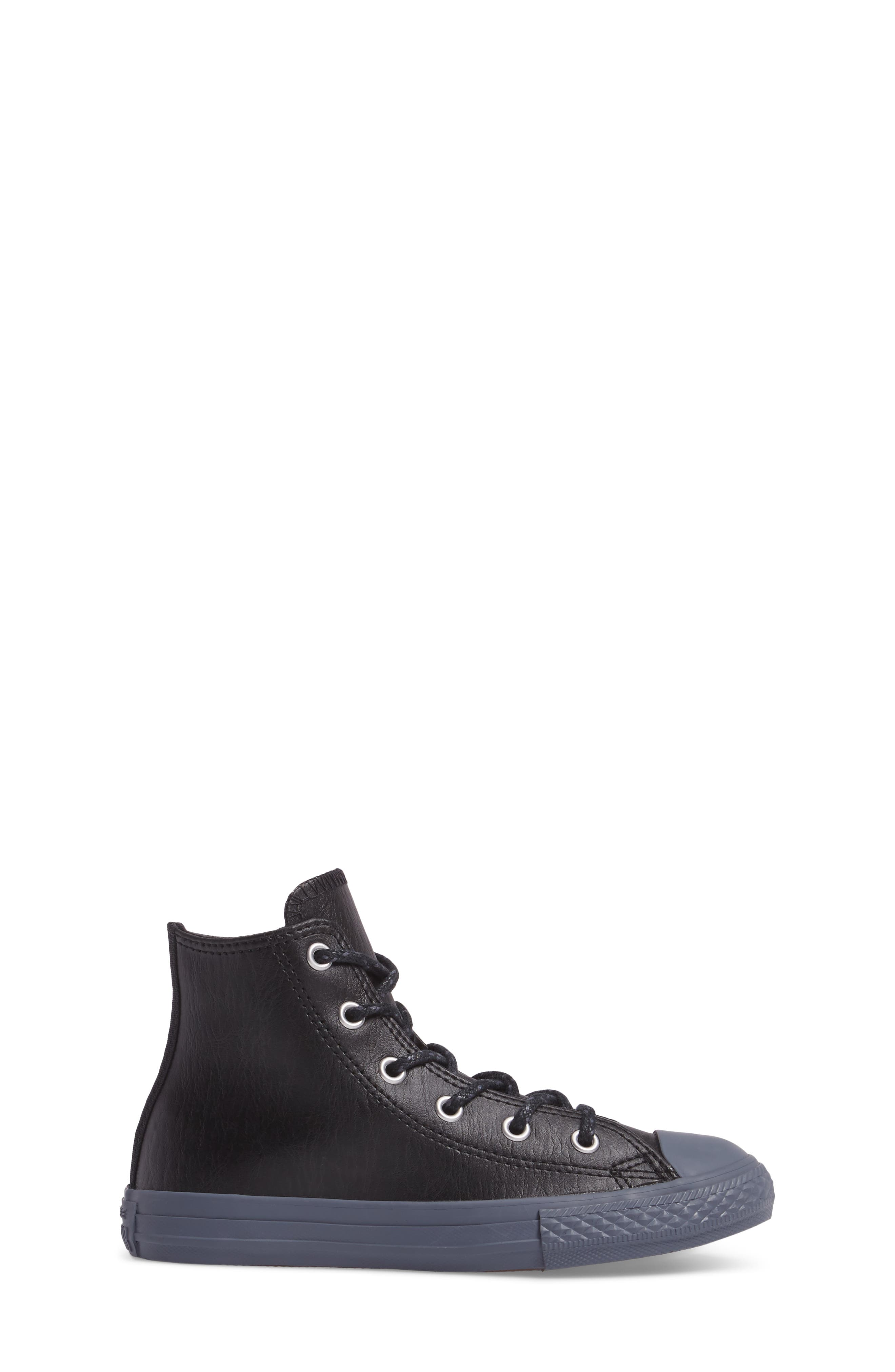 Chuck Taylor<sup>®</sup> All Star<sup>®</sup> Leather High Top Sneaker,                             Alternate thumbnail 3, color,                             001