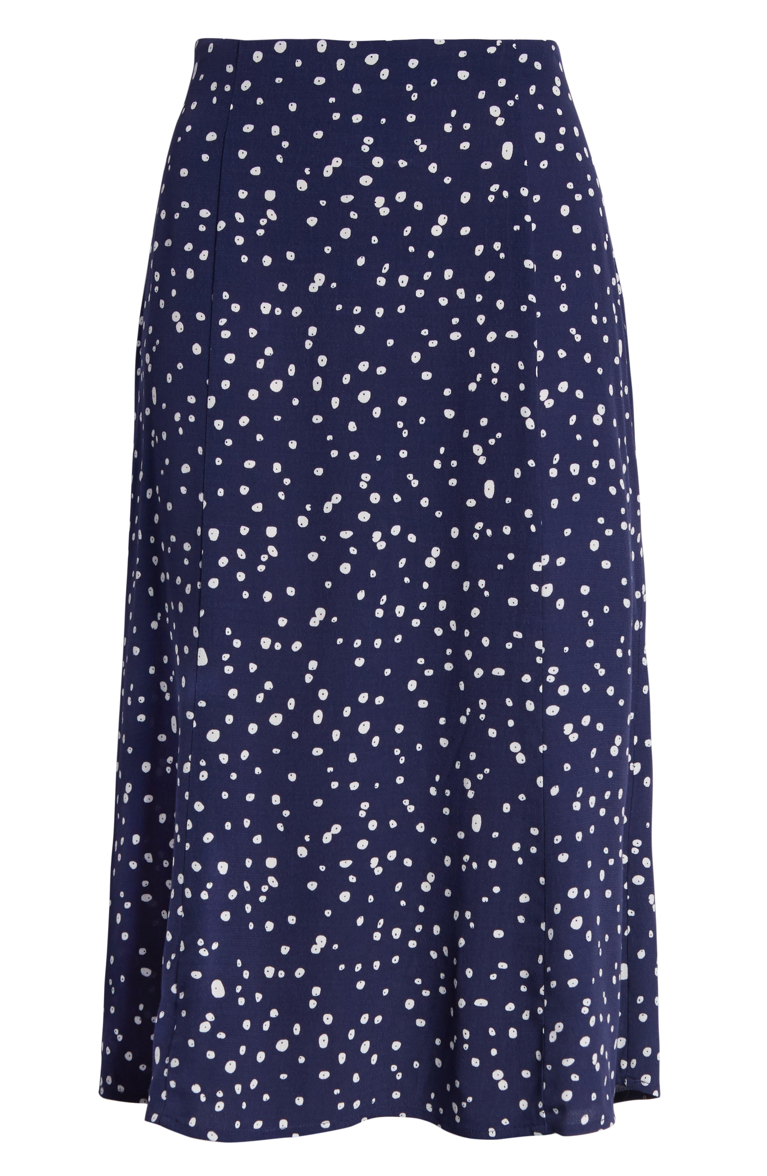 LEITH,                             High Waist Print Midi Skirt,                             Alternate thumbnail 6, color,                             NAVY PEACOAT BUTTON DOTS
