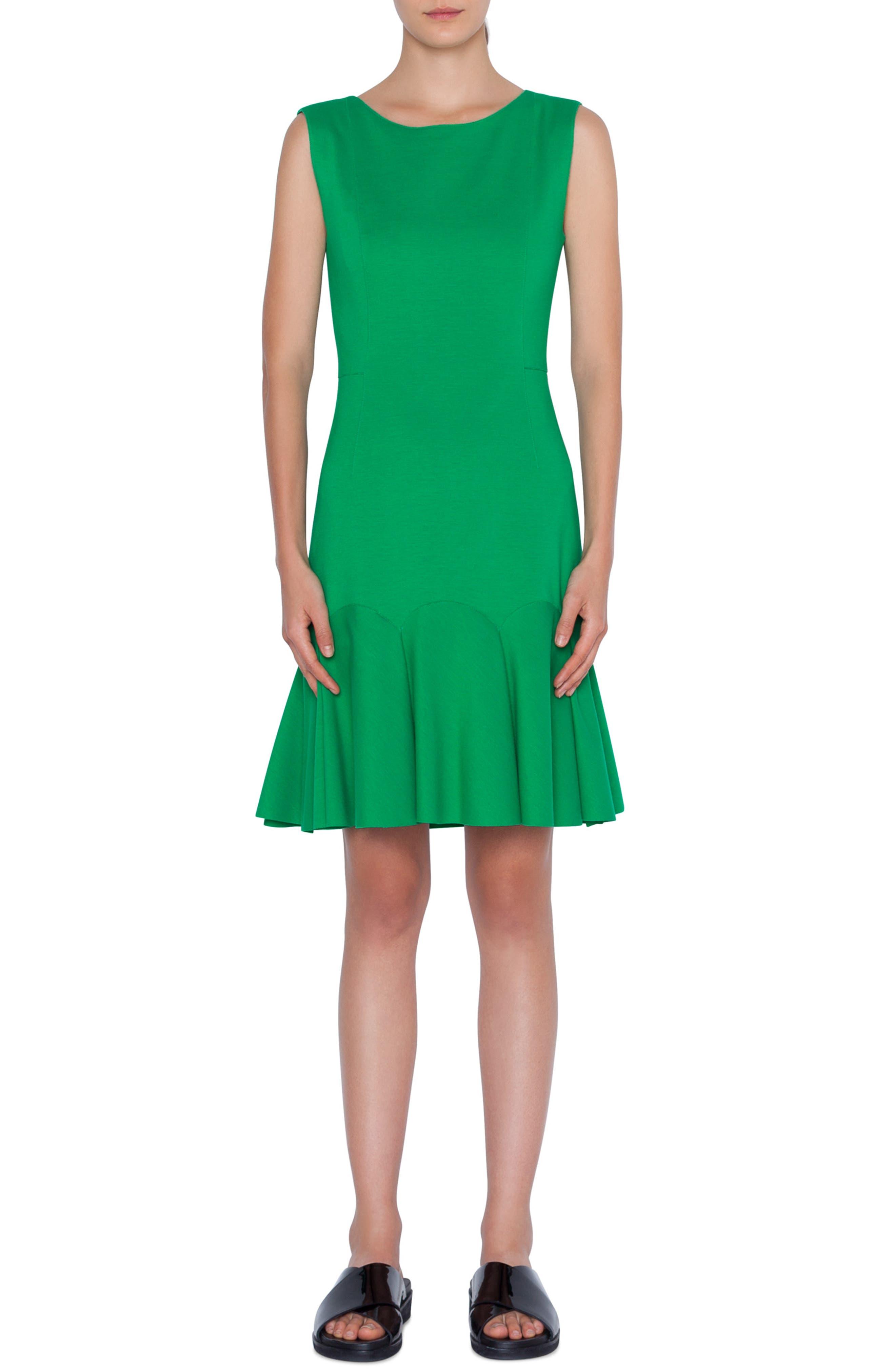 Akris Punto Flounce Hem Dress, Green