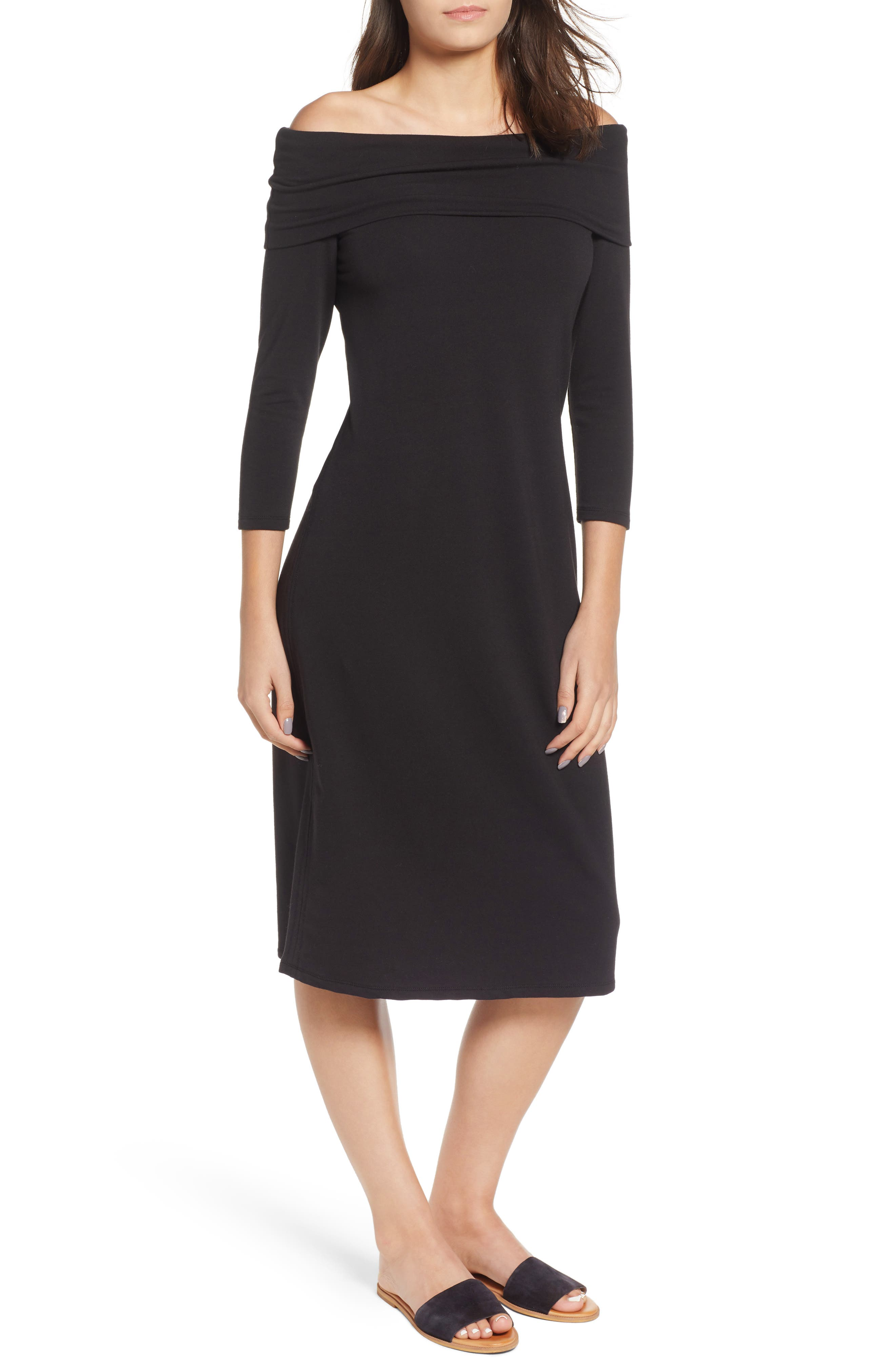 Island Zone Off-The-Shoulder Dress in Black