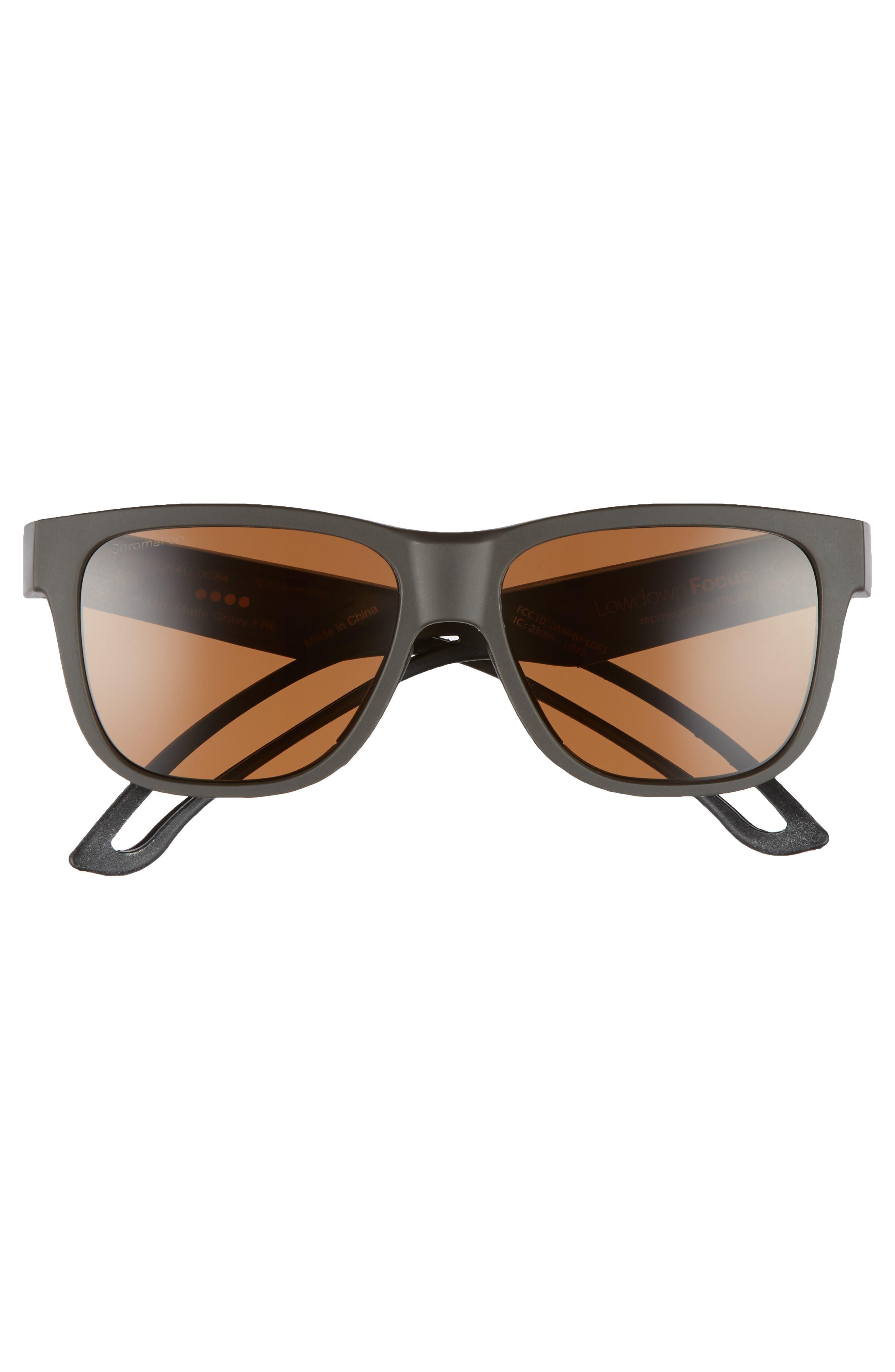 Lowdown Focus 56mm ChromaPop<sup>™</sup> Sunglasses,                             Alternate thumbnail 3, color,                             MATTE GRAVY/ BROWN