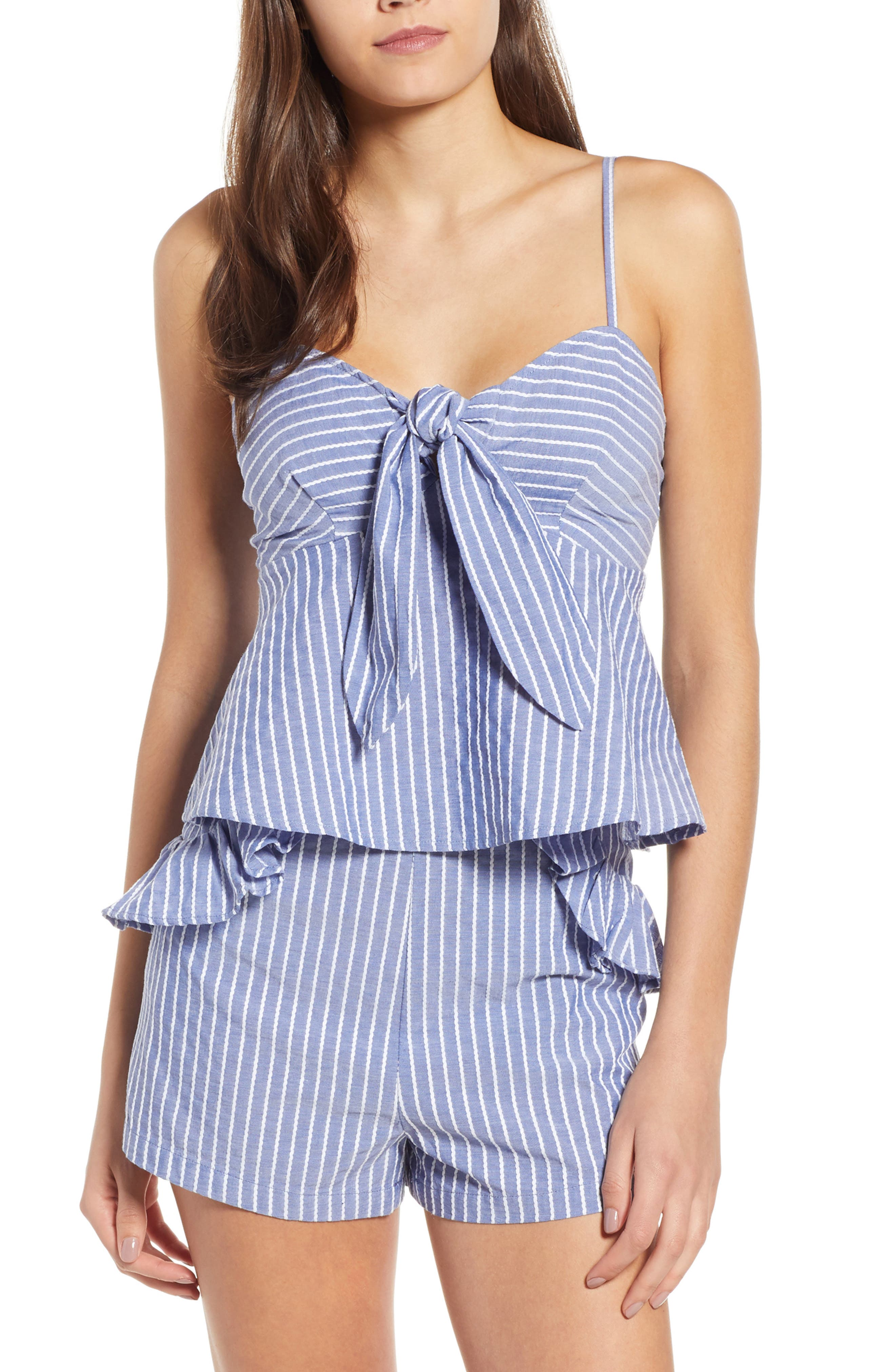 Parcel Stripe Tie Front Tank,                         Main,                         color, BLUE WITH WHITE