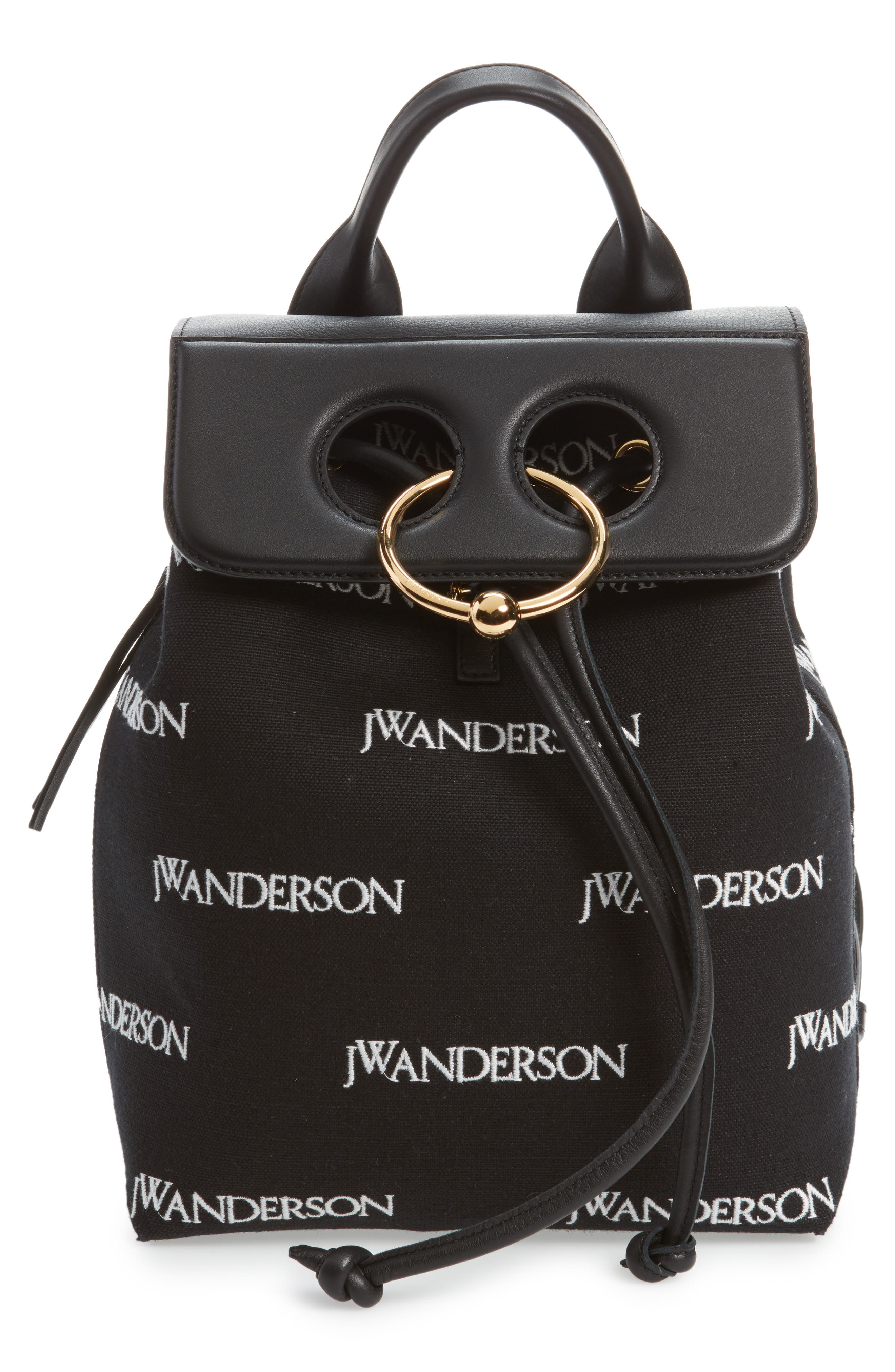 JW ANDERSON,                             Mini Pierce Logo Backpack,                             Main thumbnail 1, color,                             001