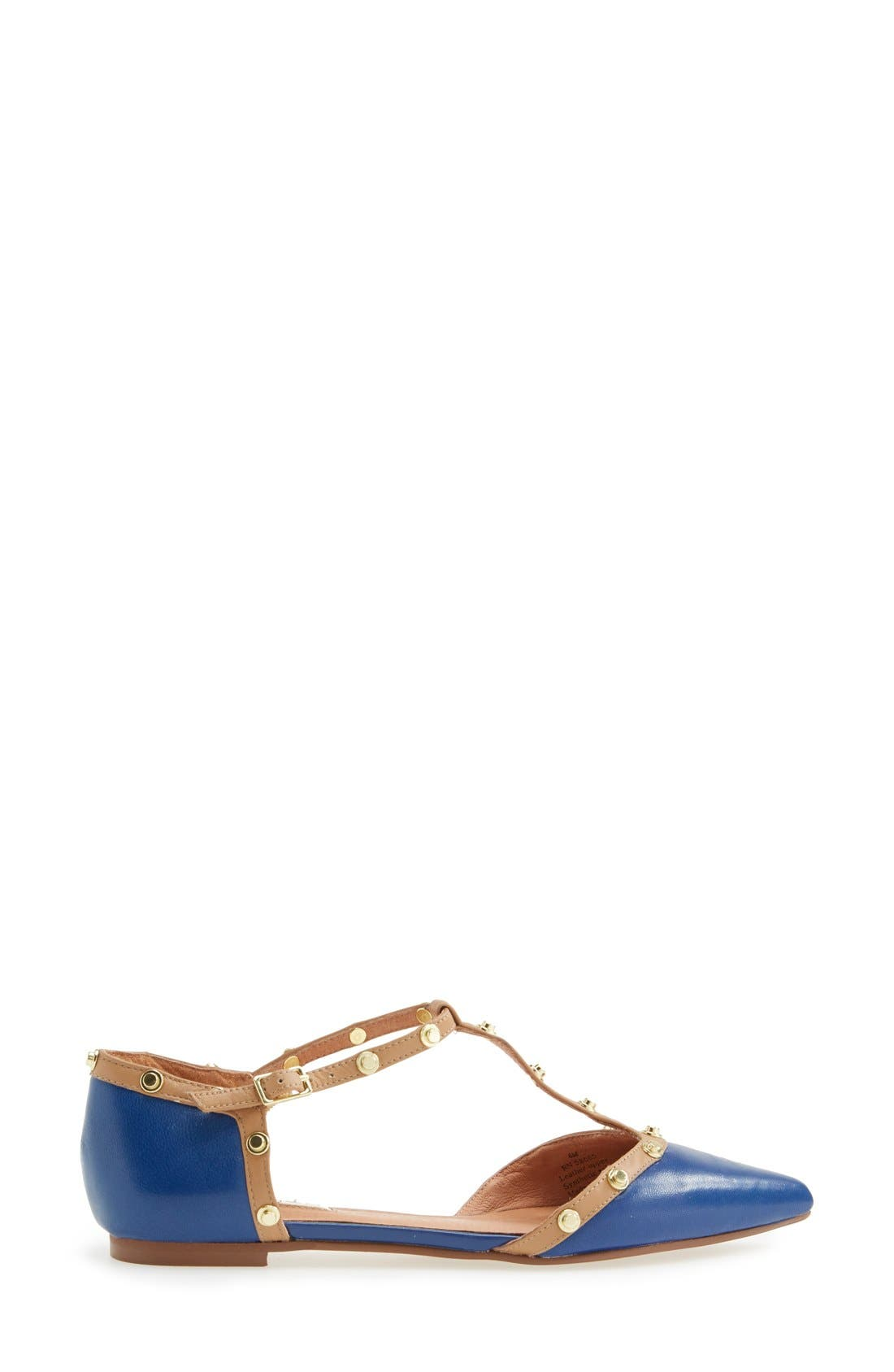 'Olson' Pointy Toe Studded T-Strap Flat,                             Alternate thumbnail 28, color,