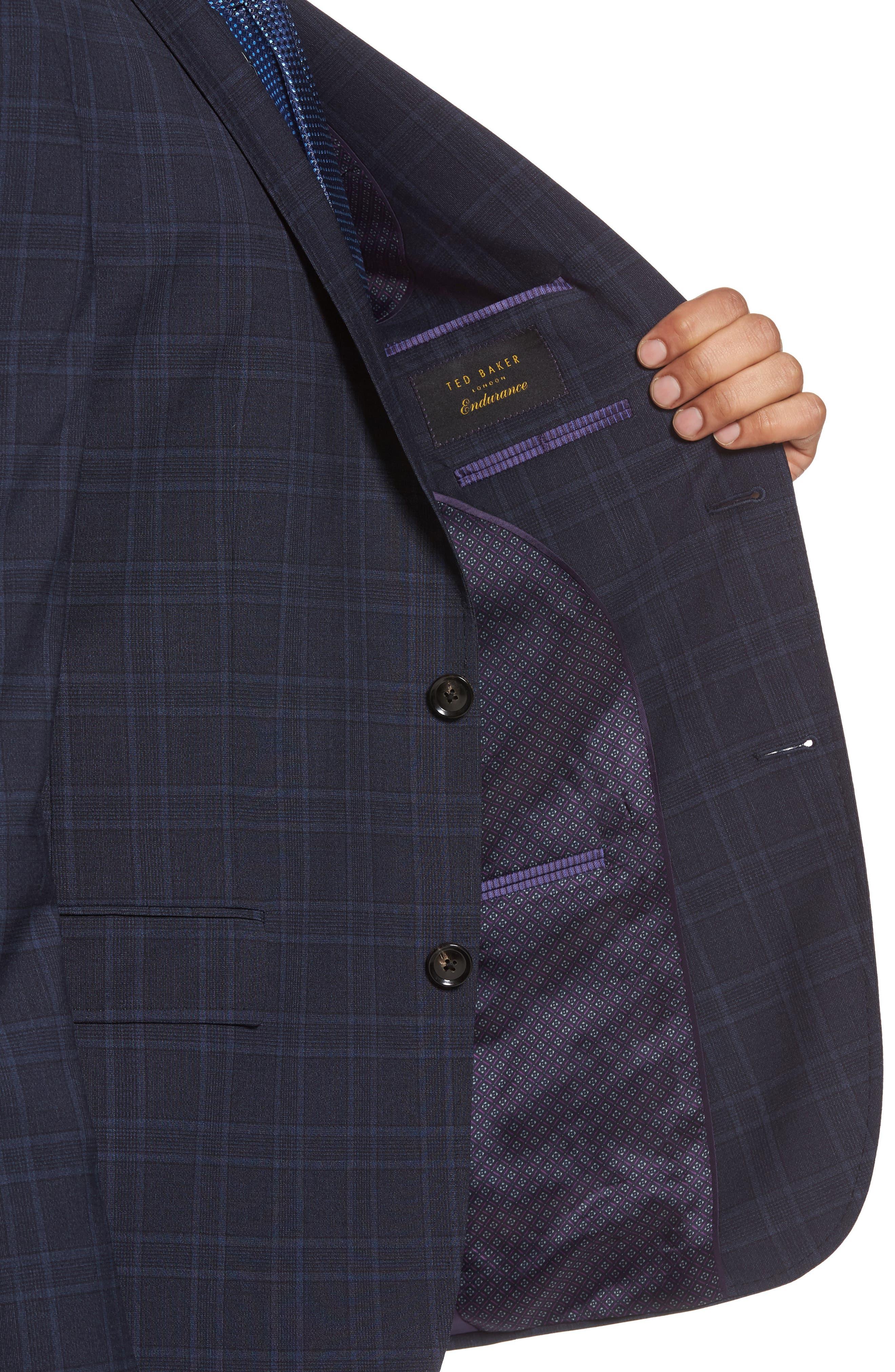 Jay Trim Fit Plaid Wool Suit,                             Alternate thumbnail 4, color,                             400