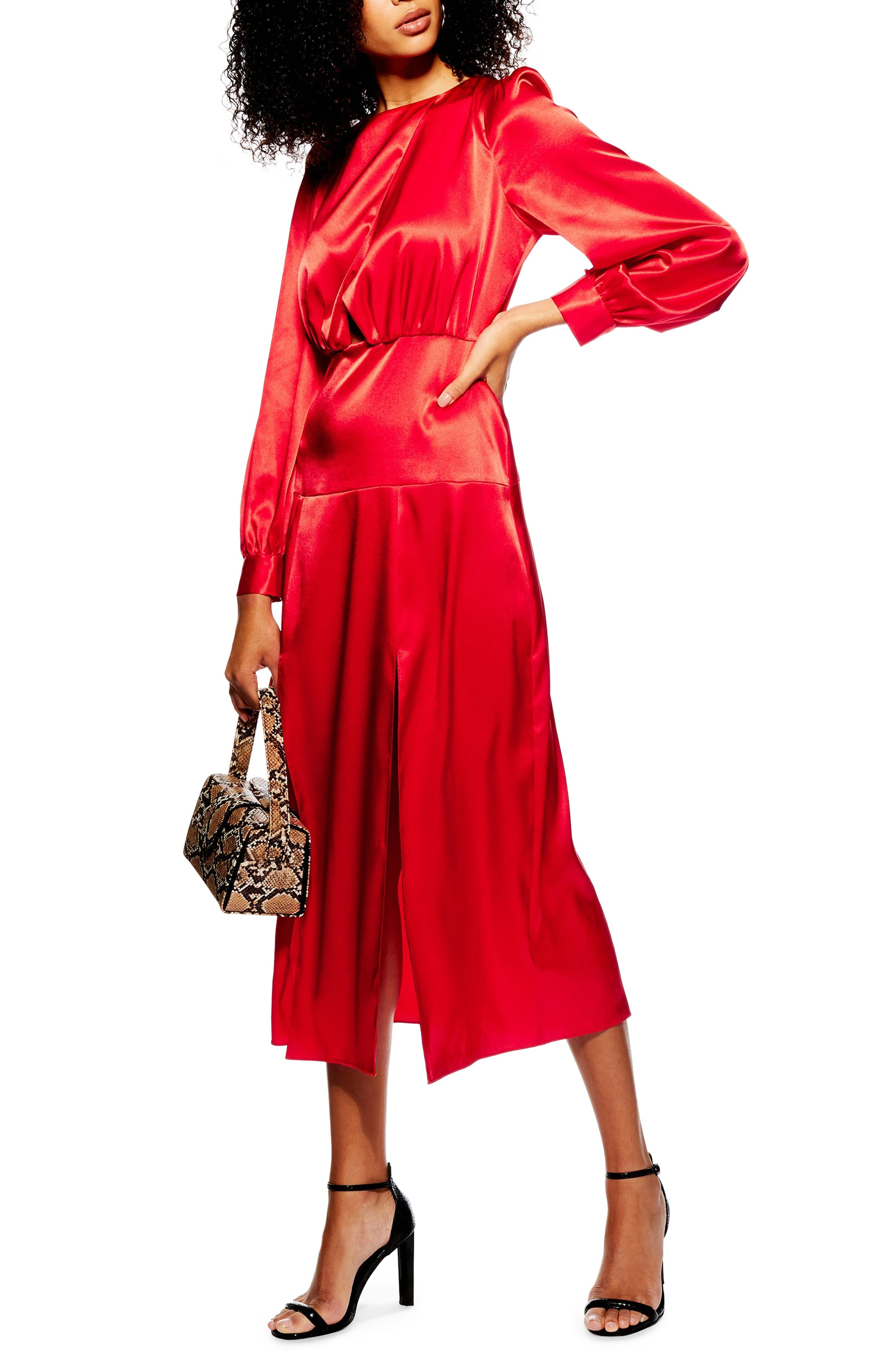 Topshop Cutout Midi Dress, US (fits like 0-2) - Red