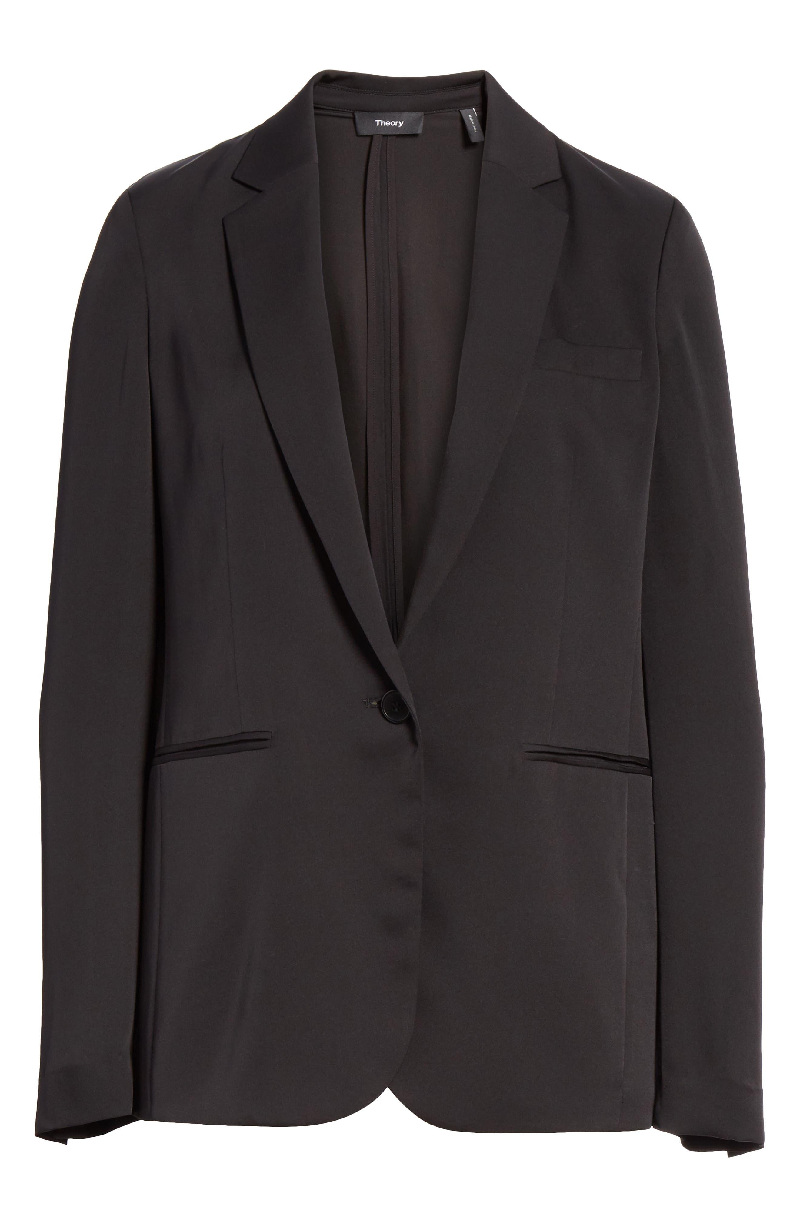 Grinson Silk Suit Jacket,                             Alternate thumbnail 5, color,                             001