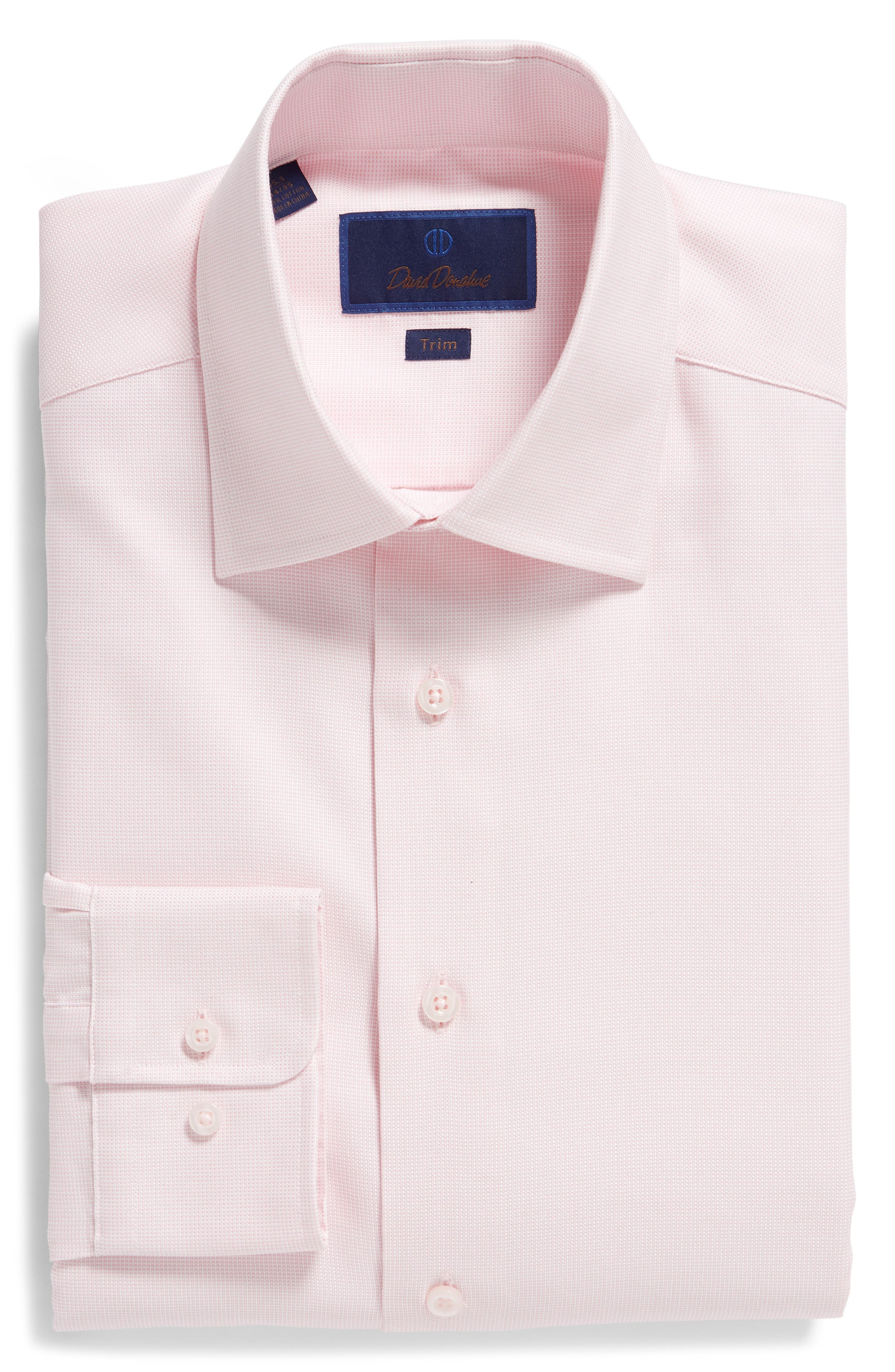 Trim Fit Solid Dress Shirt,                             Alternate thumbnail 5, color,                             PINK