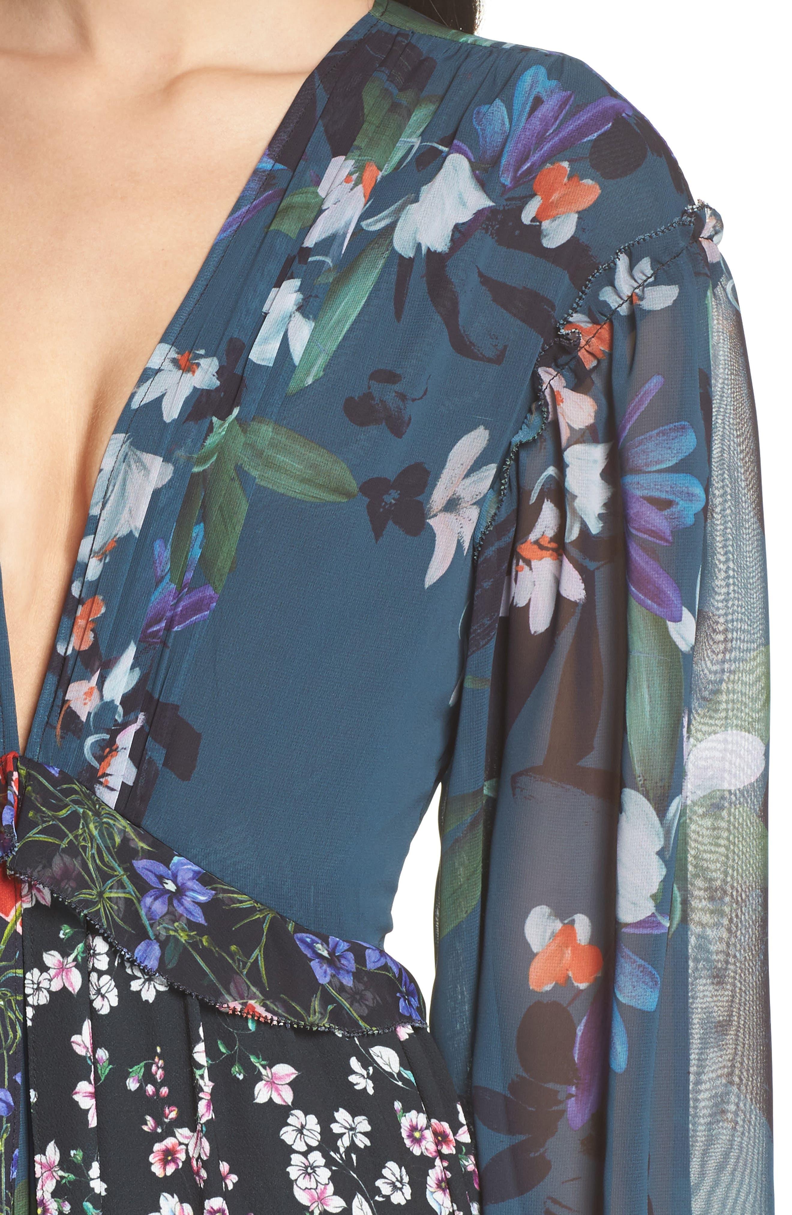 Celia Mix Floral Maxi Dress,                             Alternate thumbnail 4, color,                             451