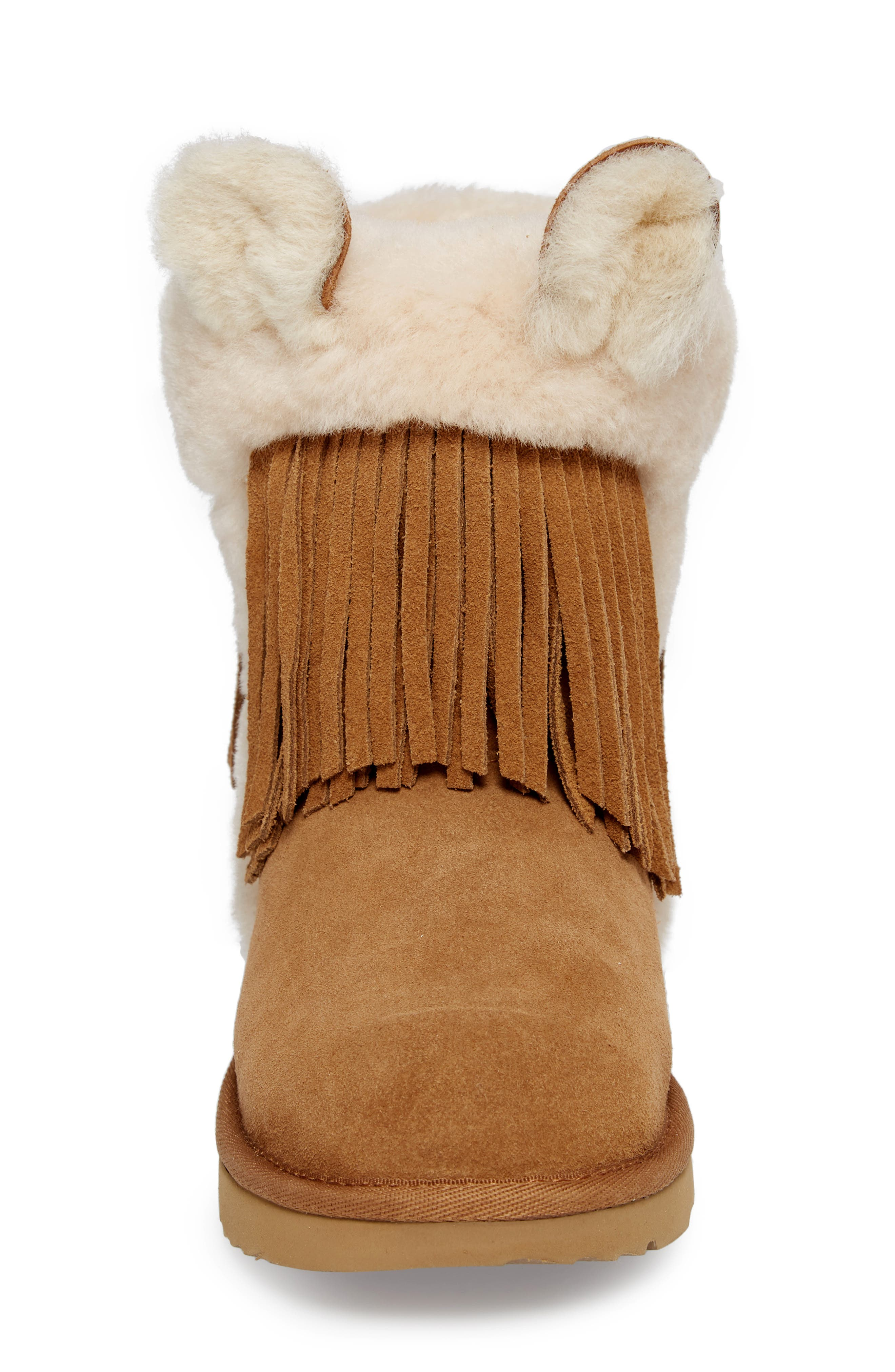 Darlala Classic II Genuine Shearling Boot,                             Alternate thumbnail 4, color,                             CHESTNUT