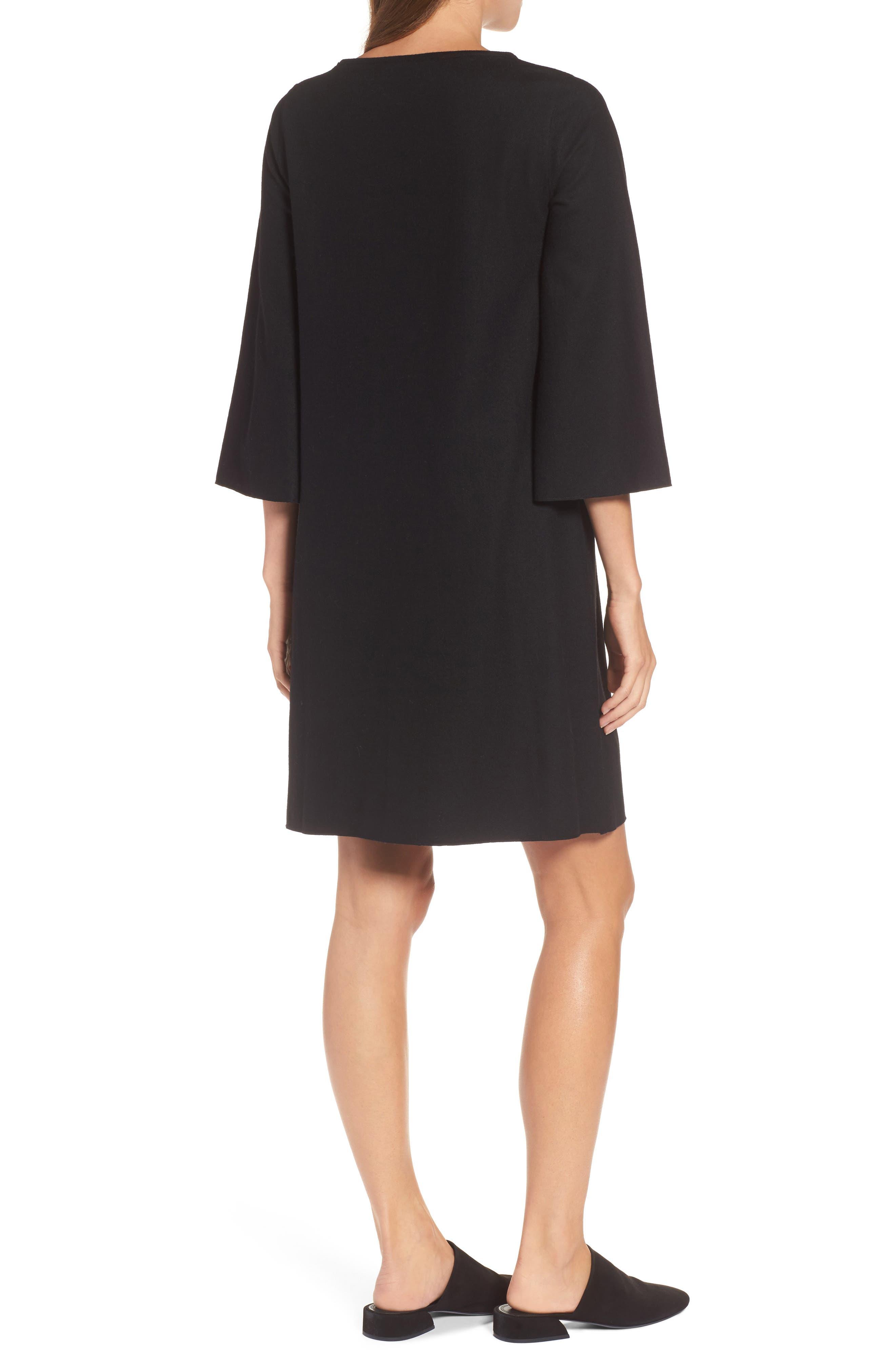 Bell Sleeve Dress,                             Alternate thumbnail 2, color,                             001