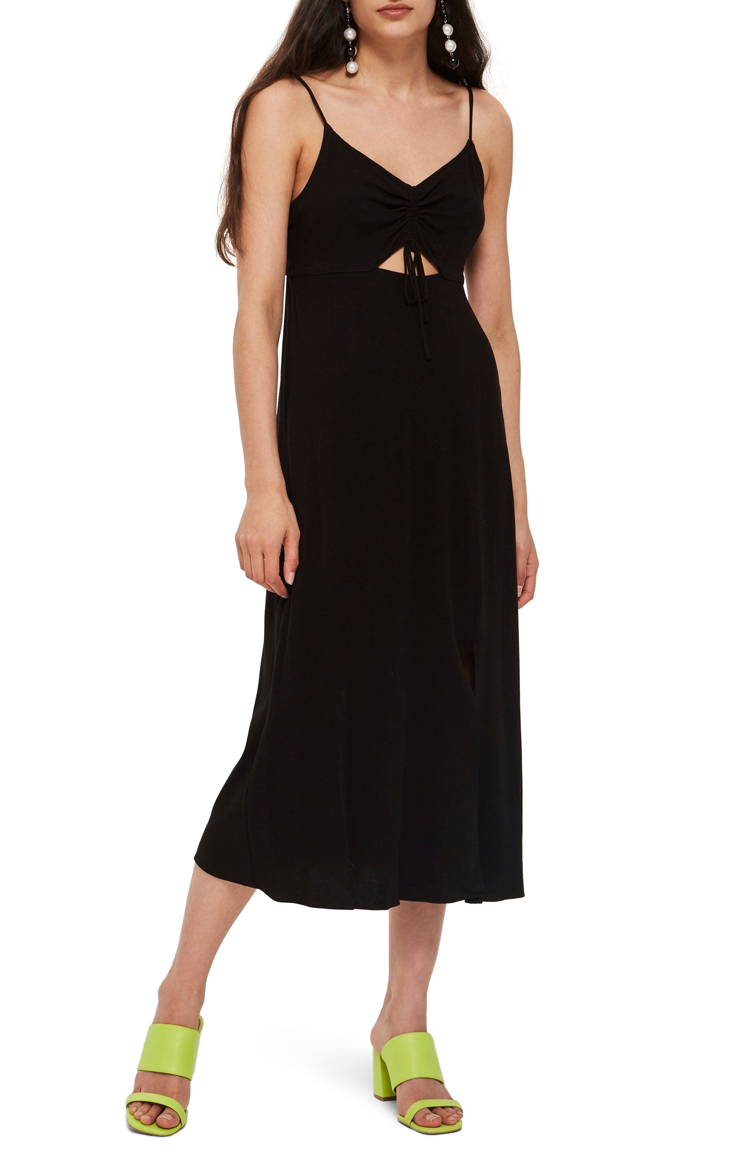 Ruched Front Midi Slipdress,                             Main thumbnail 1, color,                             001