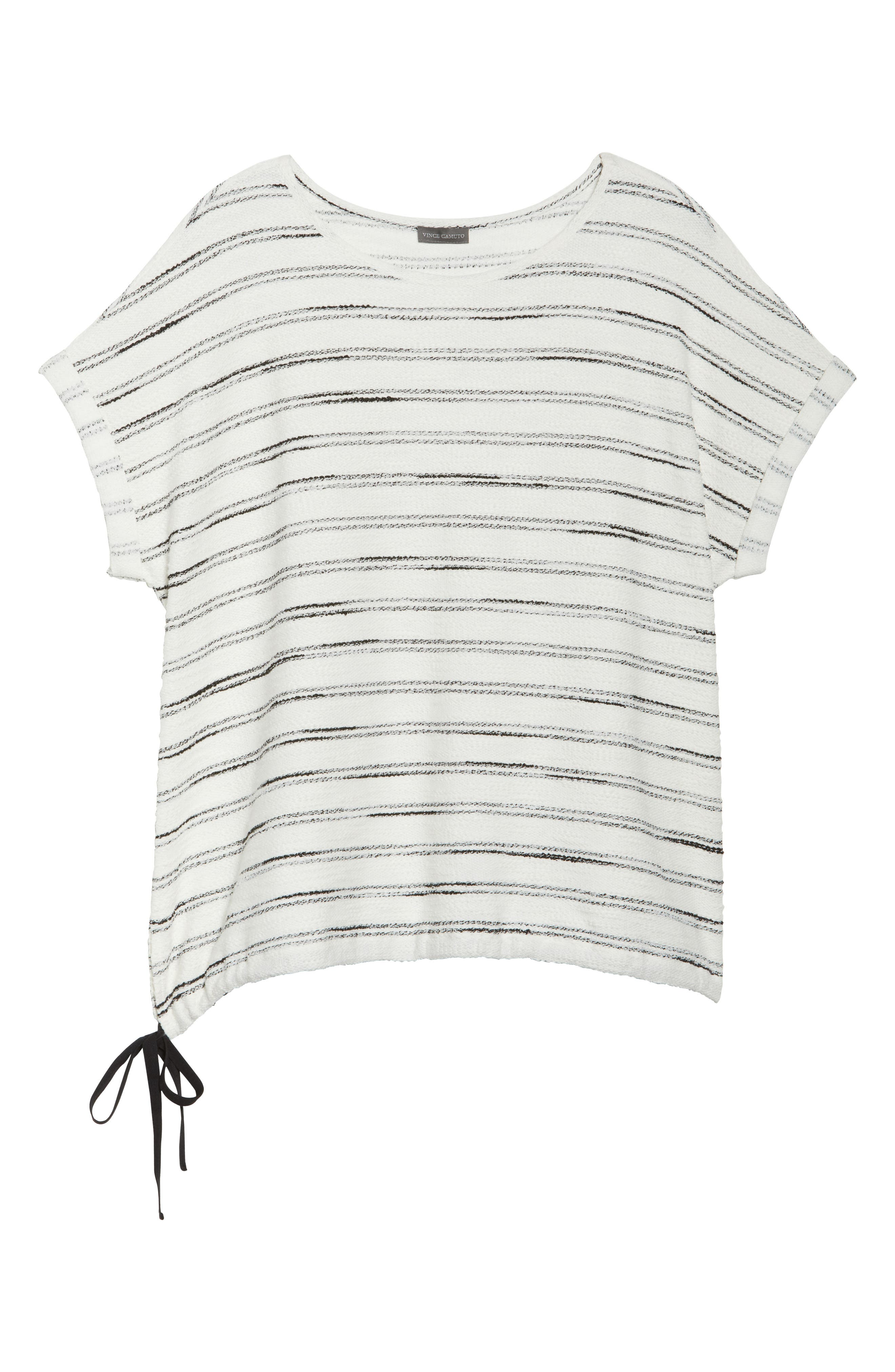 Drawstring Waist Nubby Stripe Top,                             Alternate thumbnail 6, color,                             001