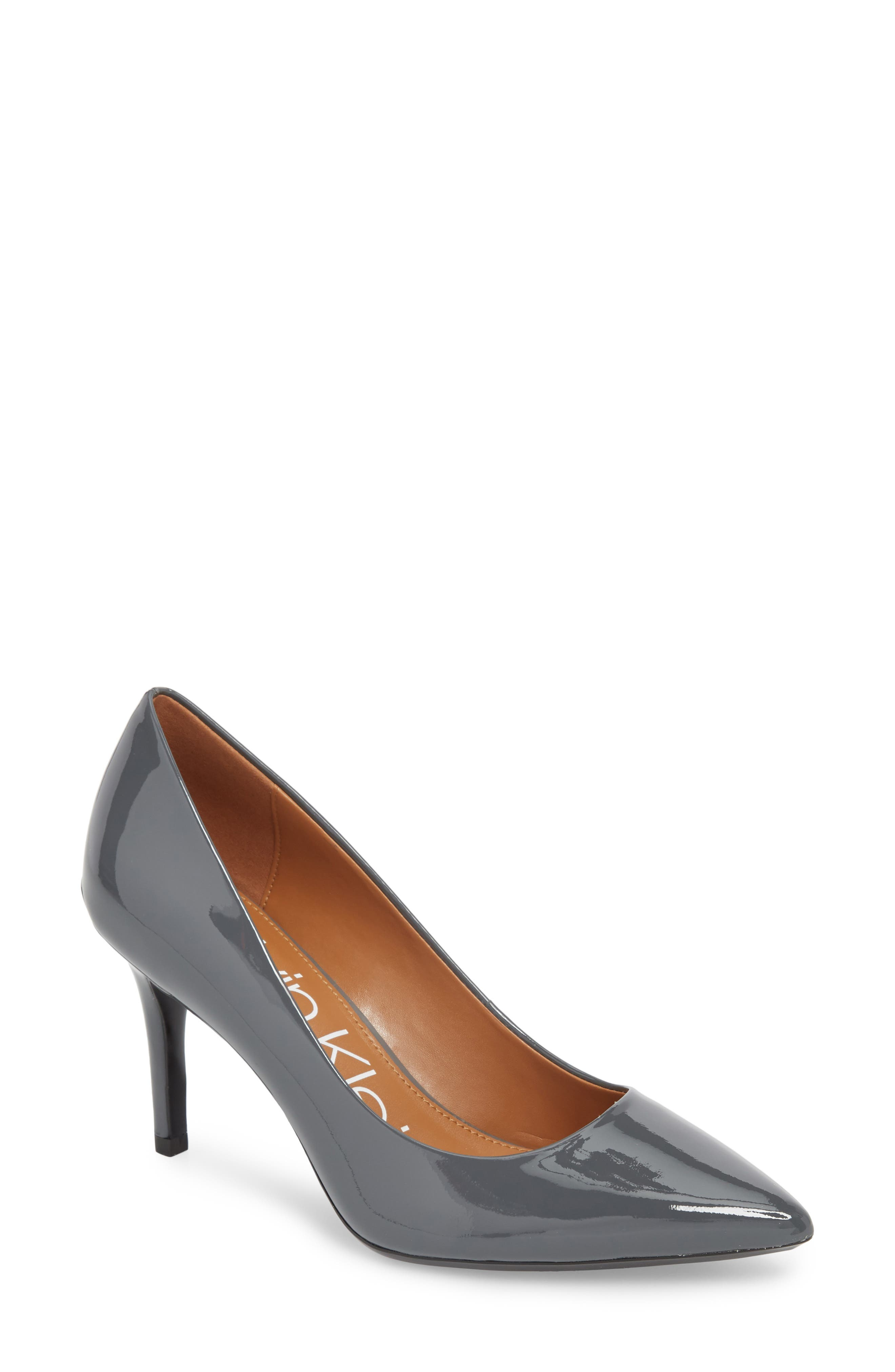 'Gayle' Pointy Toe Pump, Main, color, STEEL GREYSTONE LEATHER