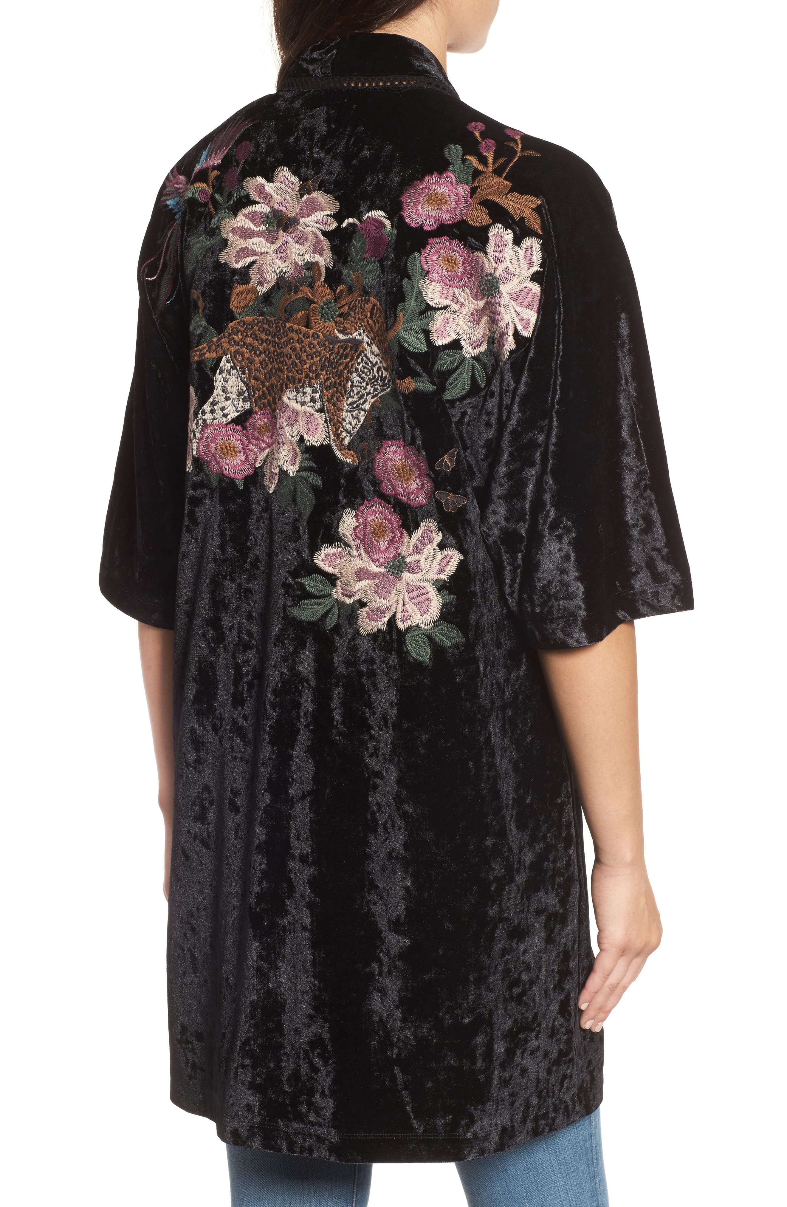 Embroidered Velvet Kimono Jacket,                             Alternate thumbnail 3, color,