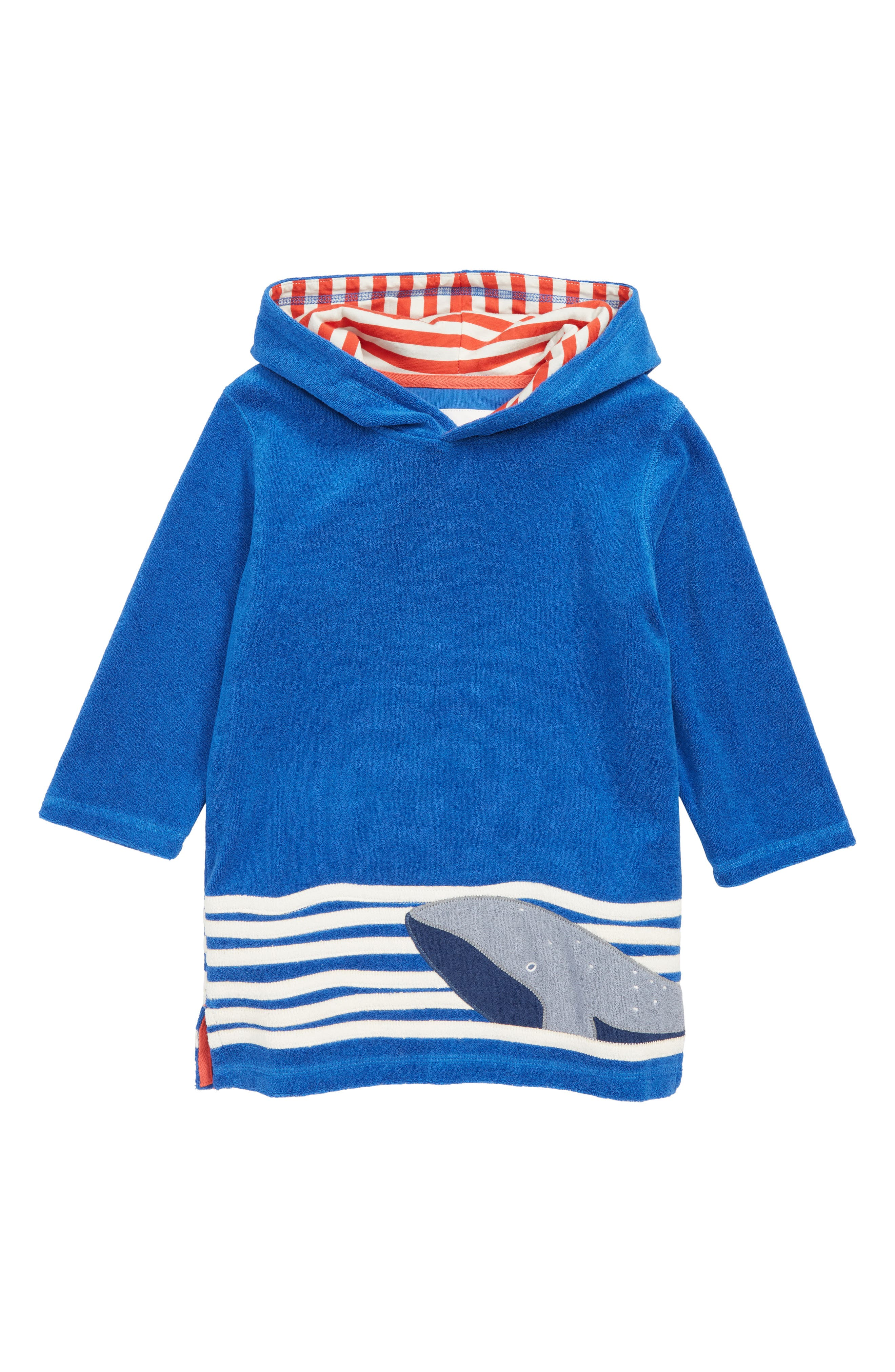 Toddler Boys Mini Boden Whale  Towelling Hooded CoverUp Poncho Size 34Y  Blue