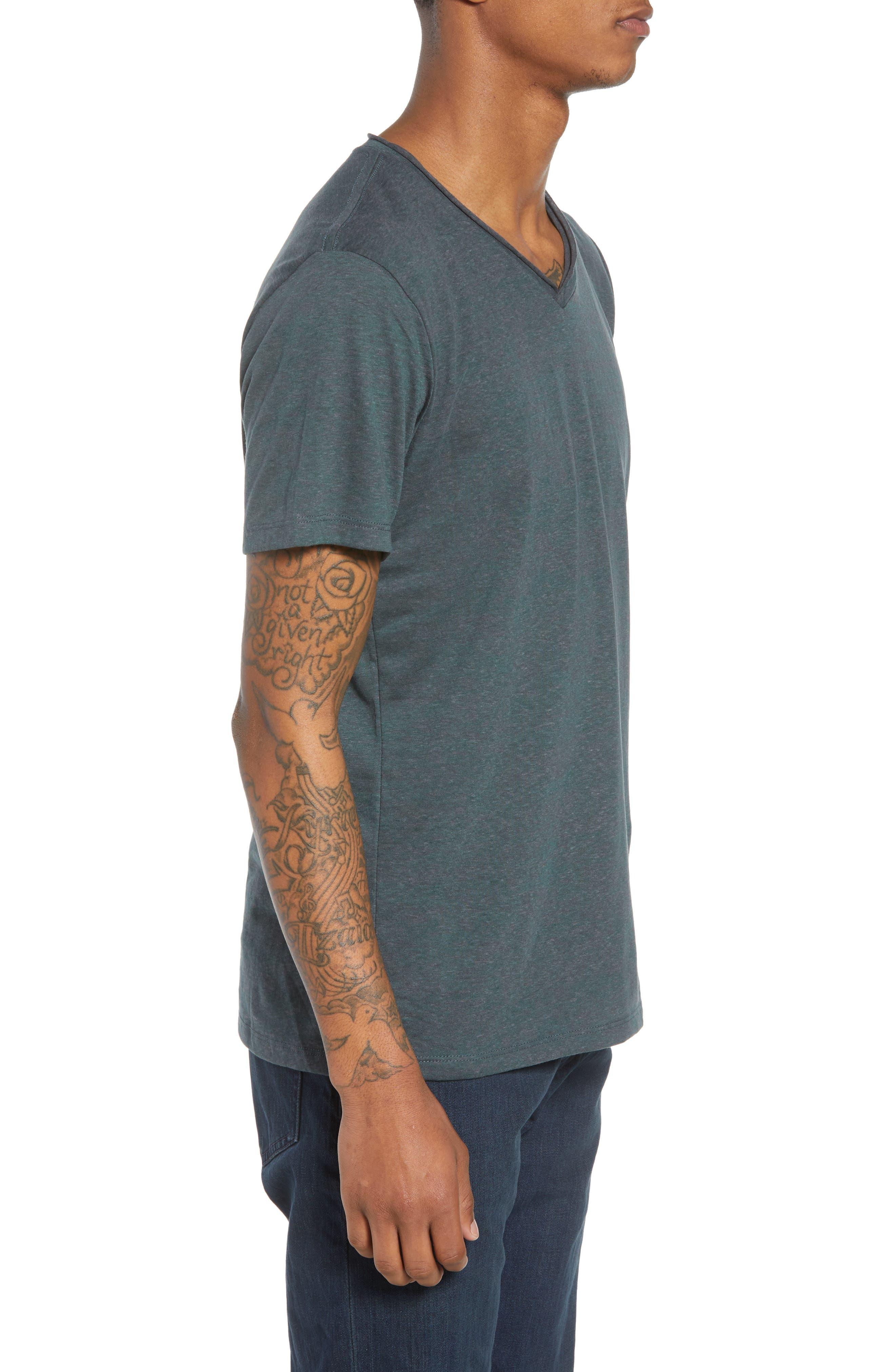 Burnout Raw Edge V-Neck T-Shirt,                             Alternate thumbnail 3, color,                             310