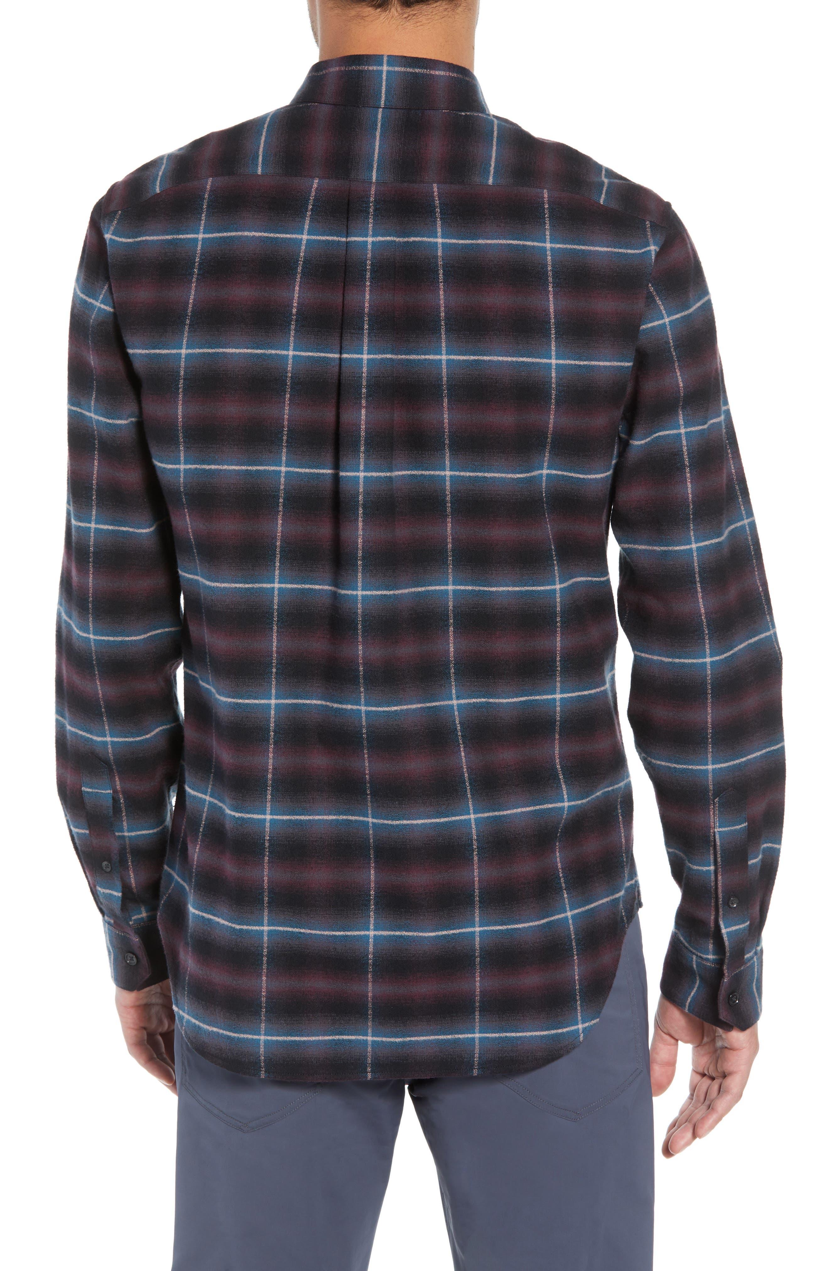 Slim Fit Shadow Plaid Grid Sport Shirt,                             Alternate thumbnail 3, color,                             MULBERRY