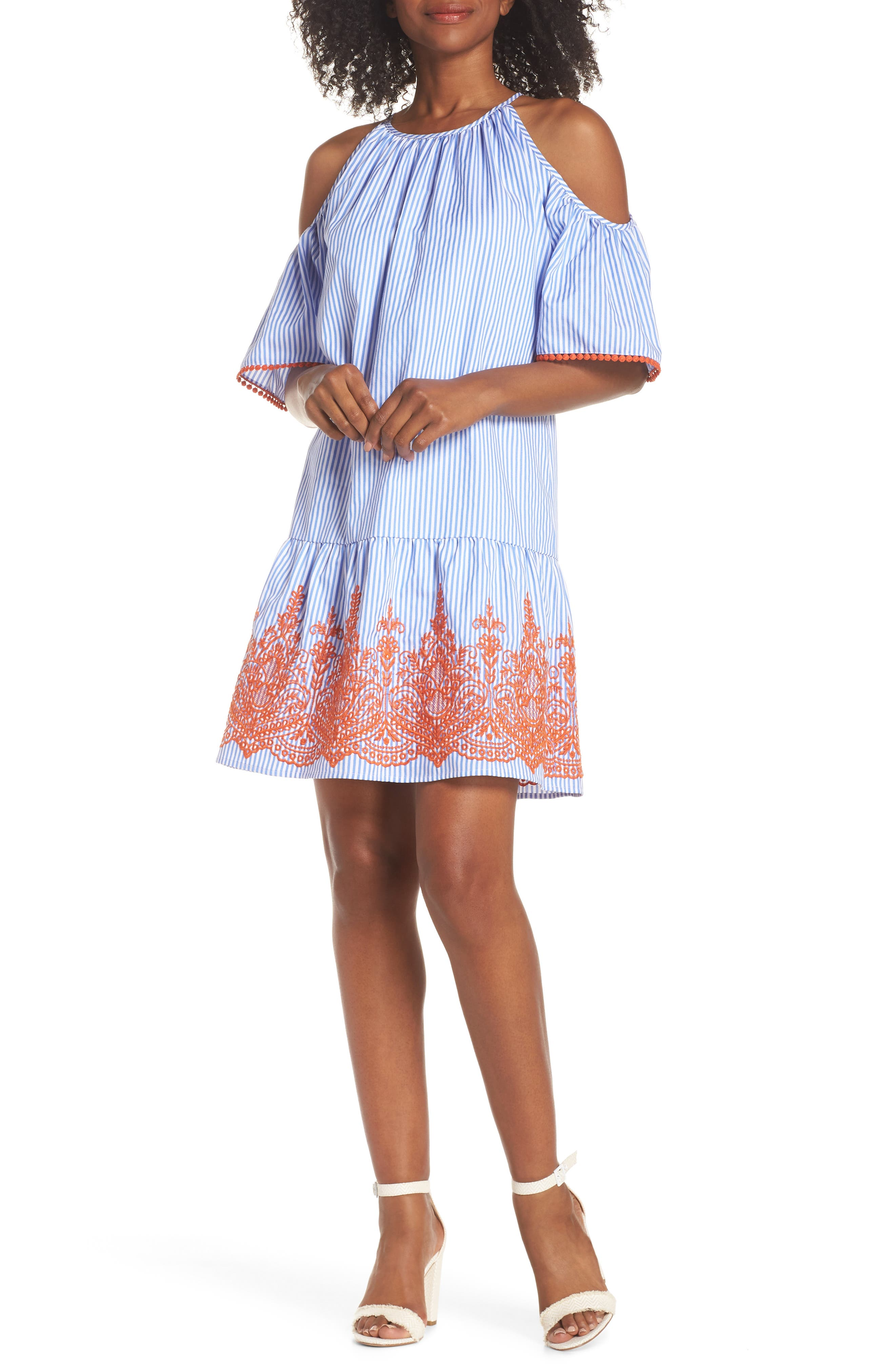 Stripe Cold Shoulder Shift Dress,                             Main thumbnail 1, color,                             410