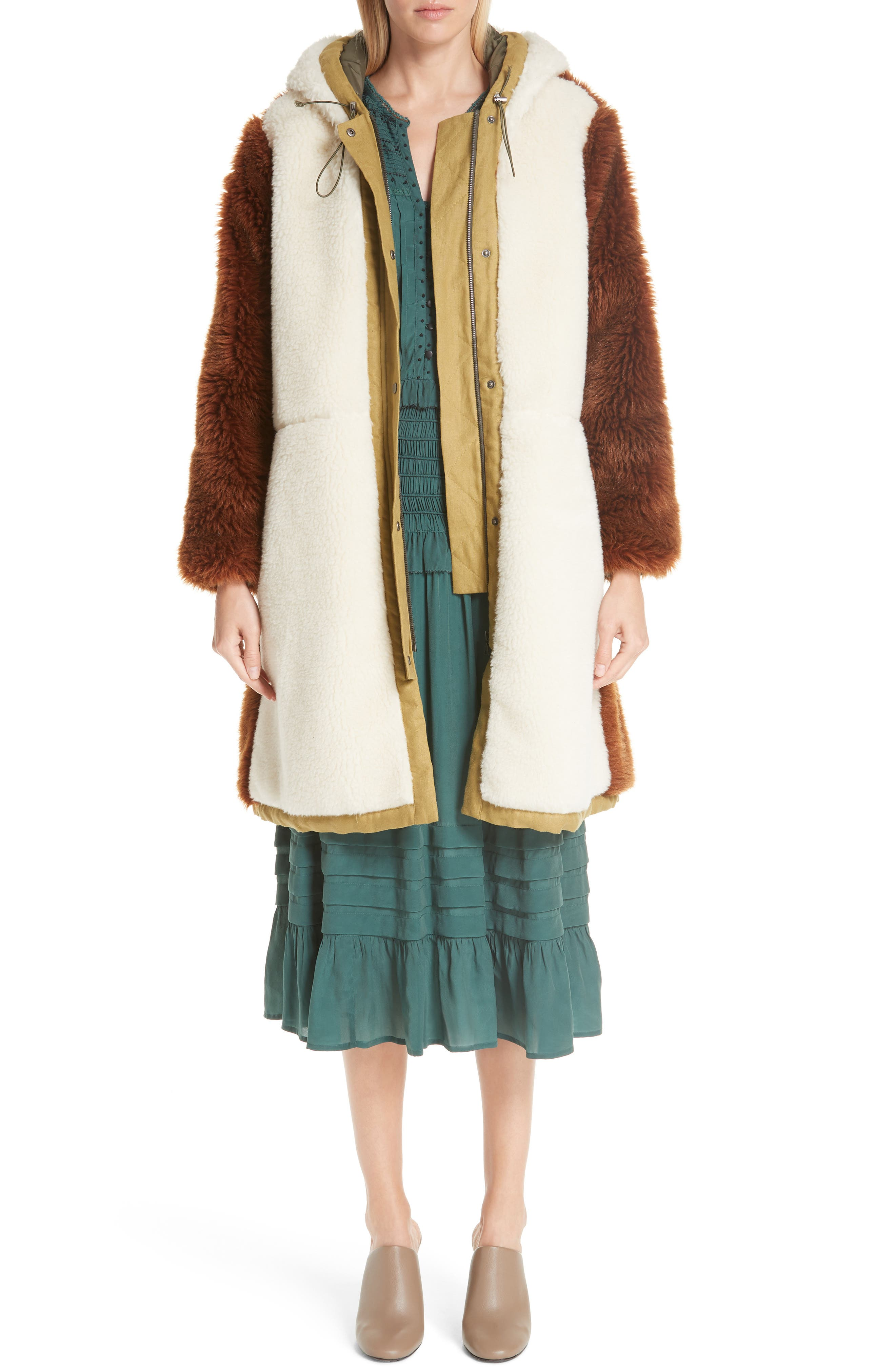 Azzedine Flutter Sleeve Smocked Midi Dress,                             Alternate thumbnail 7, color,                             FOREST